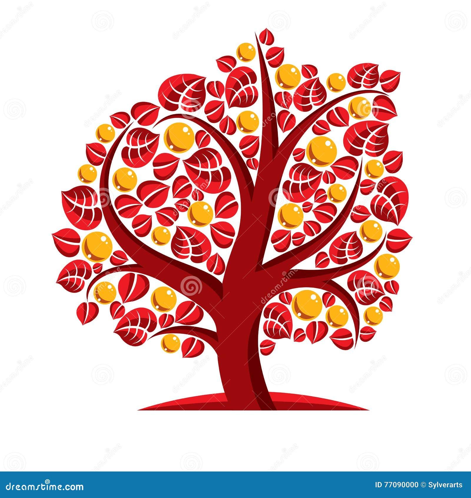 Konstvektorillustration av trädet med orange sidor, höstseaso