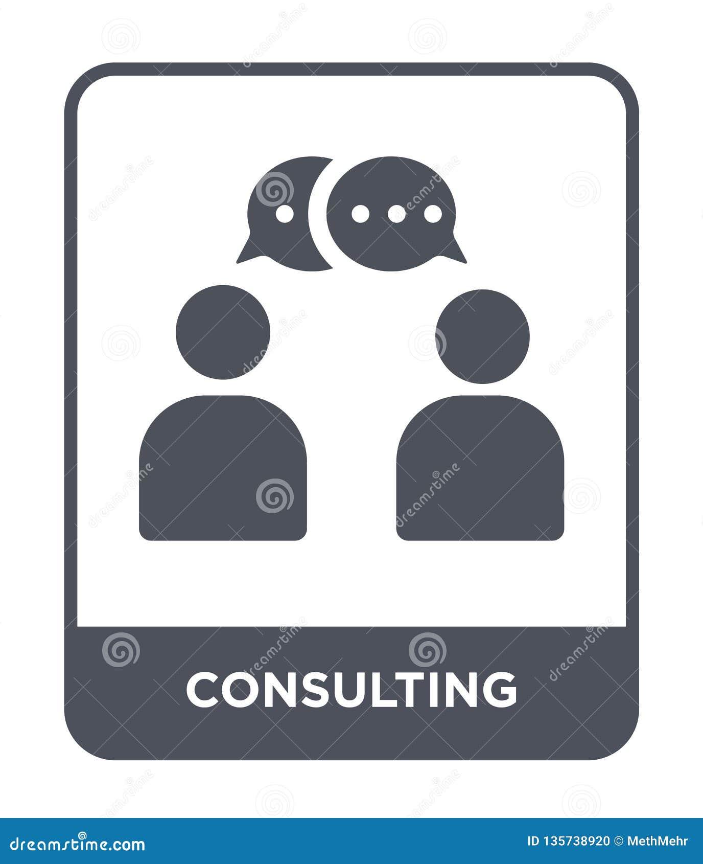 Konsulterande symbol i moderiktig designstil konsulterande symbol som isoleras på vit bakgrund konsulterande modern vektorsymbol