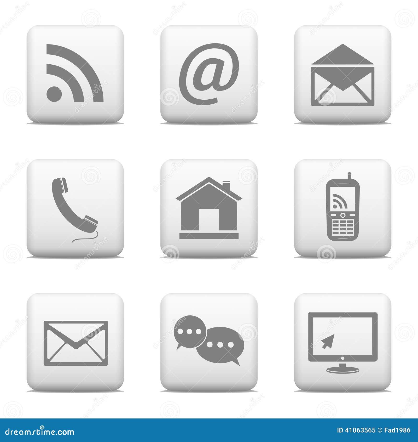 Kontaktknöpfe eingestellt, E-Mail-Ikonen