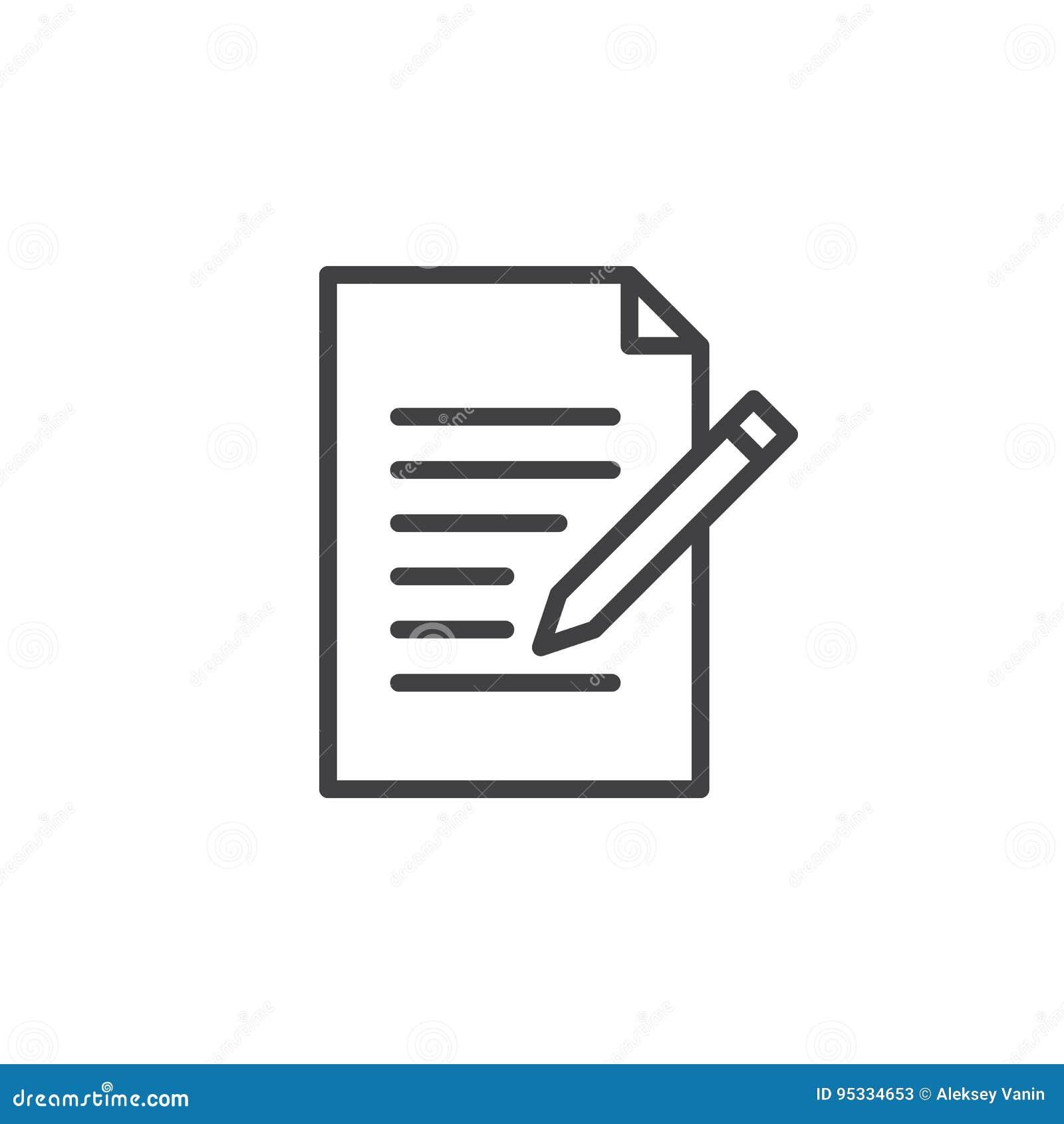 Kontaktowa formy linii ikona Pisze, redaguje, konturu wektoru znaku, liniowy stylowy piktogram odizolowywający na bielu