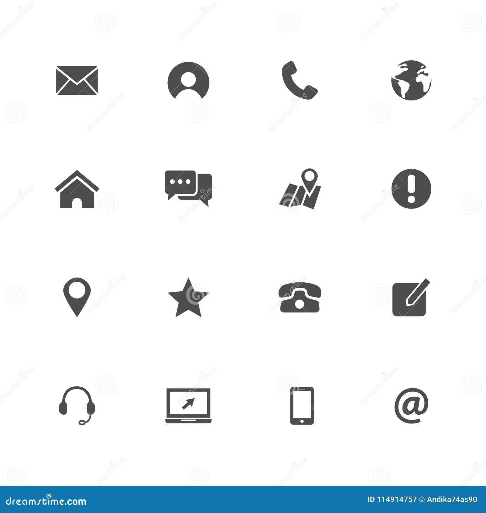 Kontaktowe ikony my ustawia wektorową ilustracyjną sieci ikonę