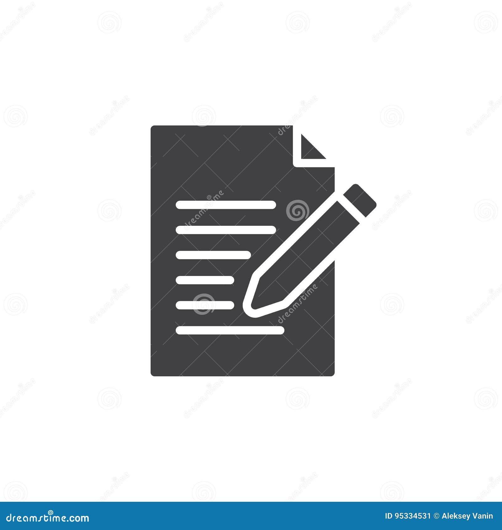 Kontaktowy formularzowy ikona wektor, Pisze, redaguje, wypełniającym mieszkanie znaku, stały piktogram odizolowywający na bielu