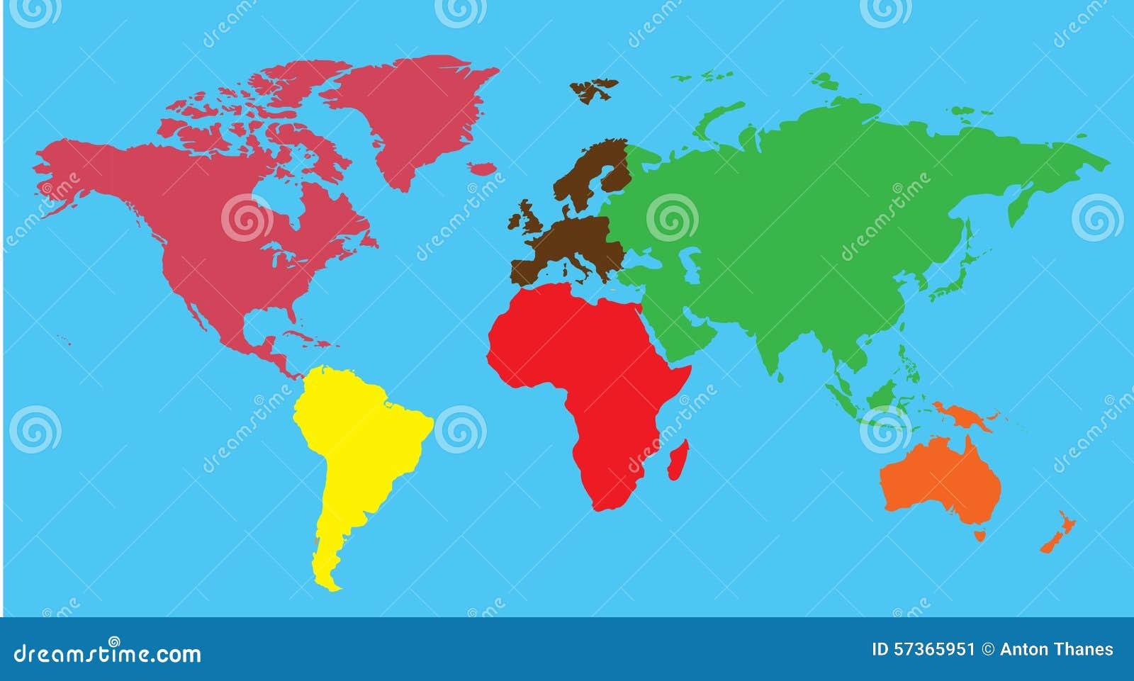 stockfoto continents world map colorful bild. Black Bedroom Furniture Sets. Home Design Ideas