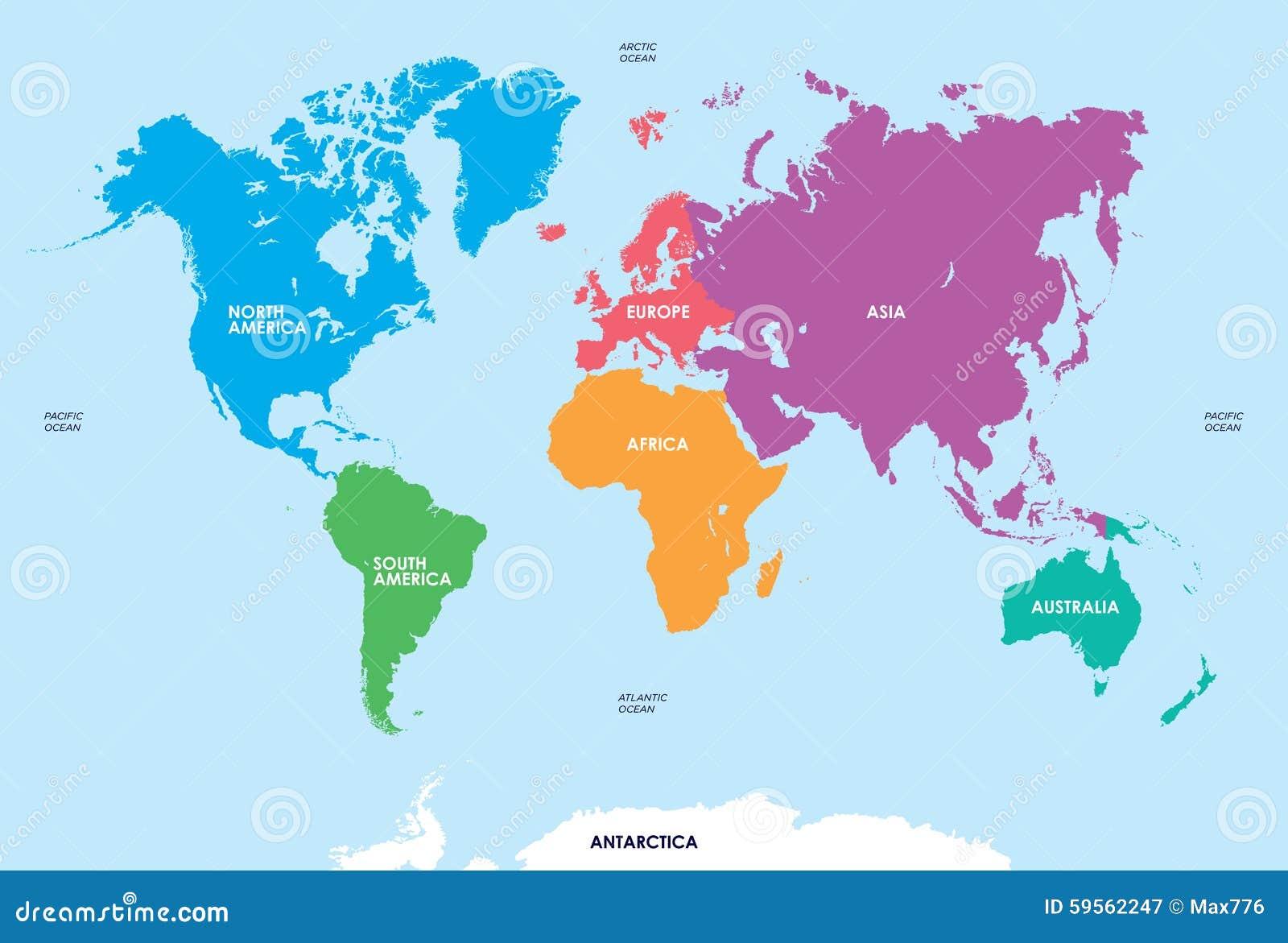 Karte Kontinente Welt.Kontinente Der Welt Karte Vektor Abbildung Illustration