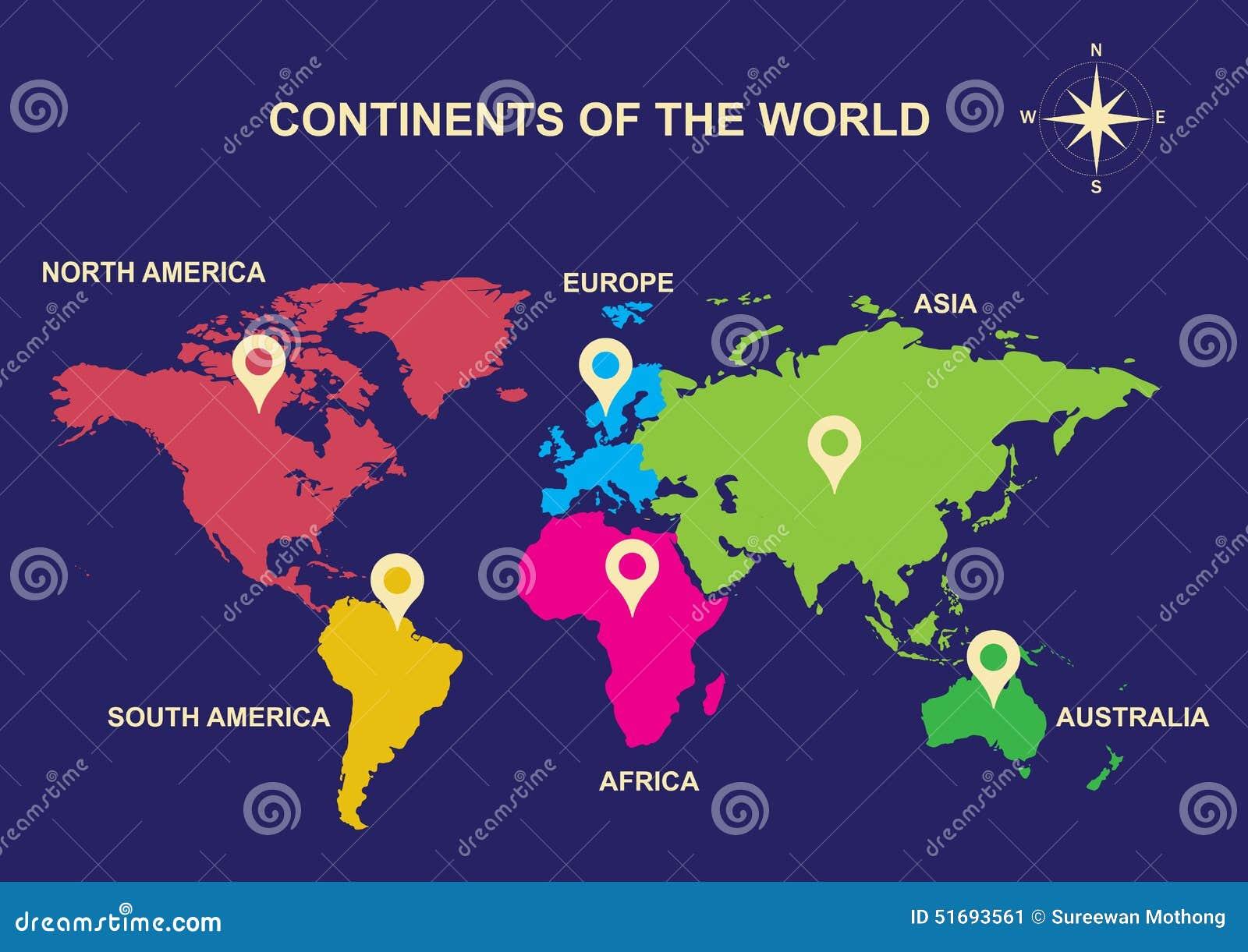 Kontinente der Welt, Kontinente, Asien, Europa, Australien, Südamerika, Nordamerika, Afrika