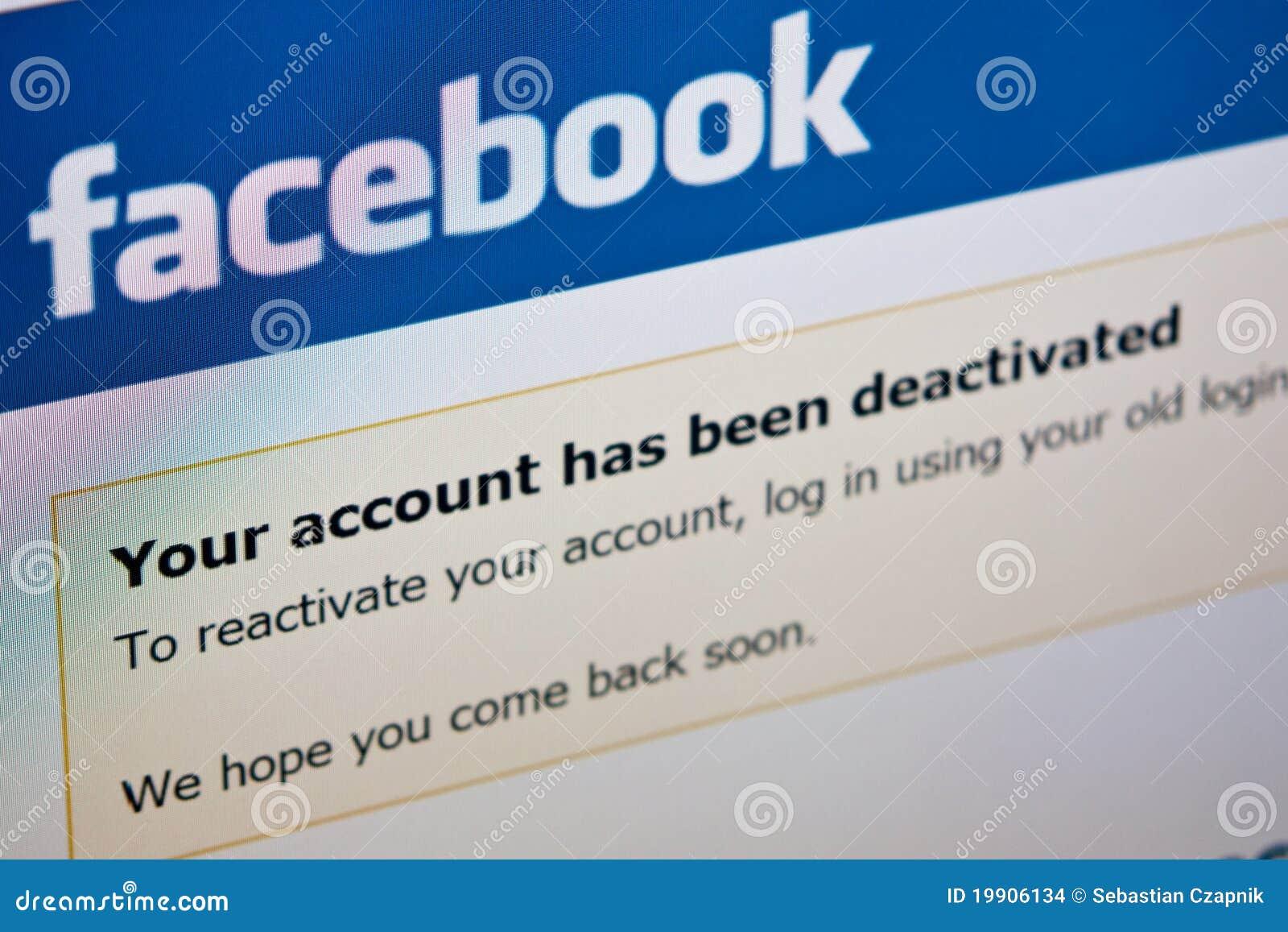Konto dezaktywuje facebook