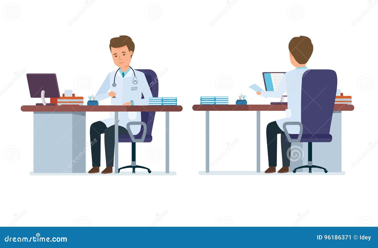 Kontor för doktors` s Framdel baksidasikt av doktorn i behandlingrum