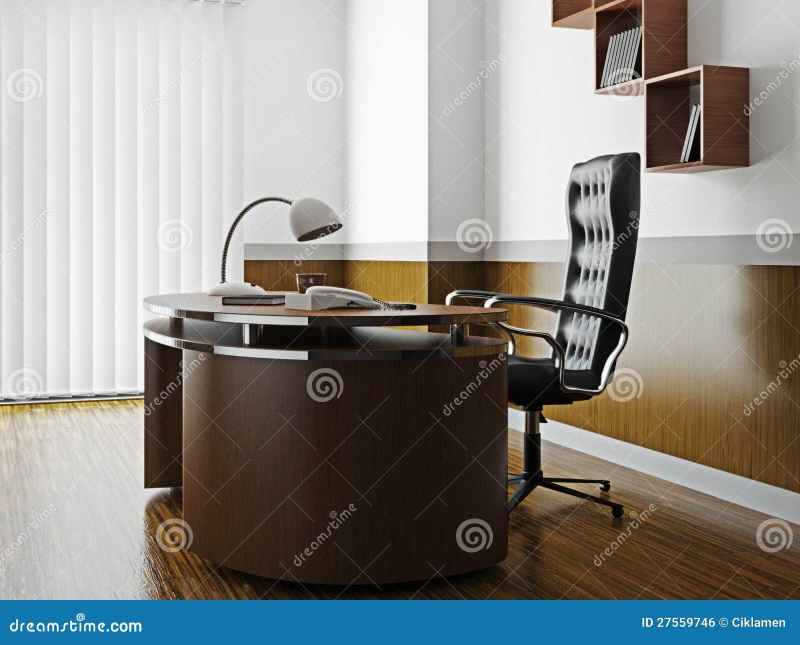 Kontor med möblemang och fönstret