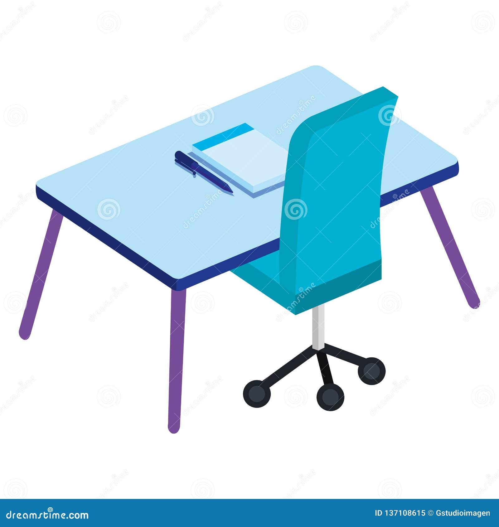 Kontor med skrivbordet och anteckningsboken
