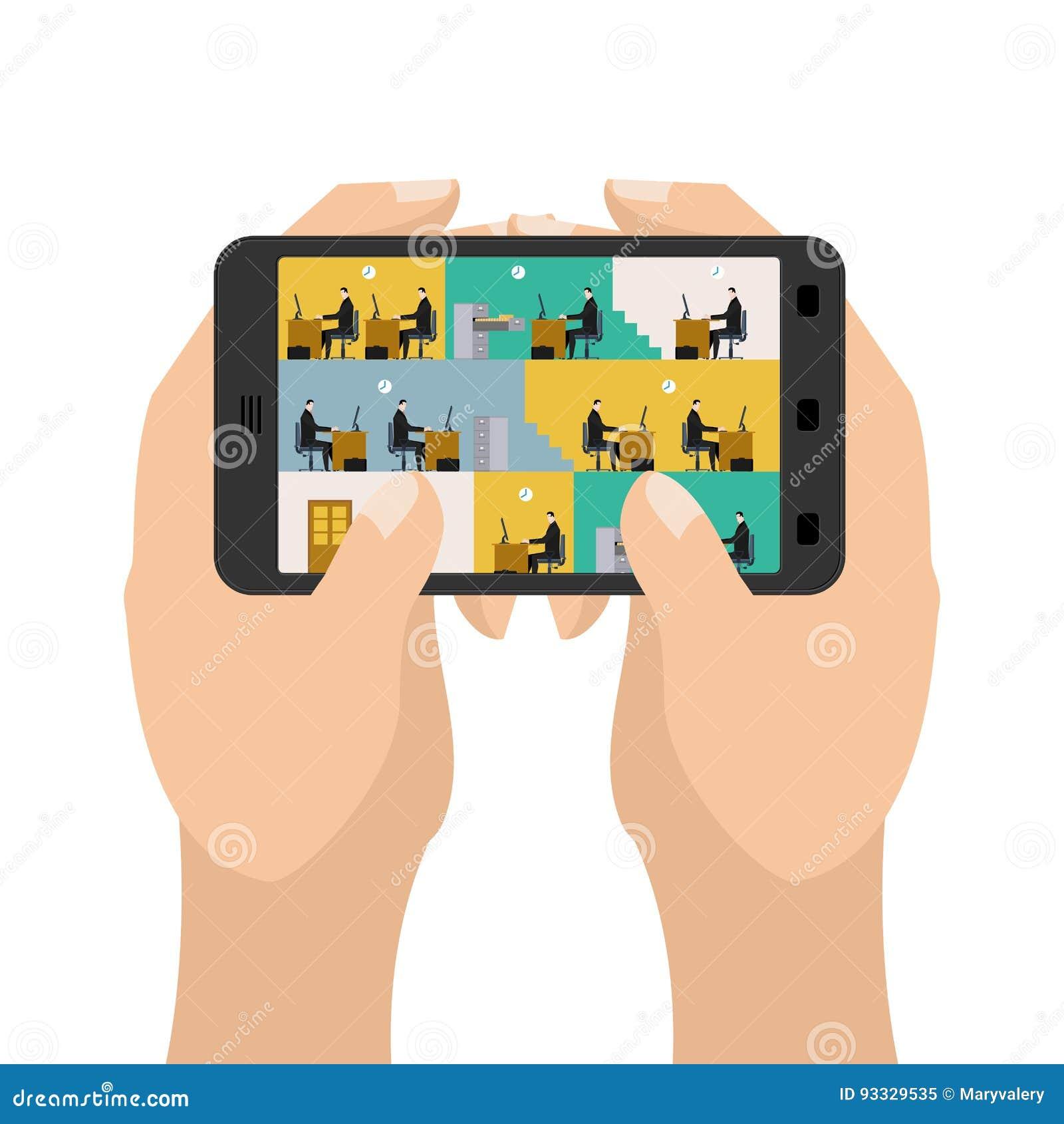 Kontor på minnestavlaleken Affär i en smartphone Handhållgadg
