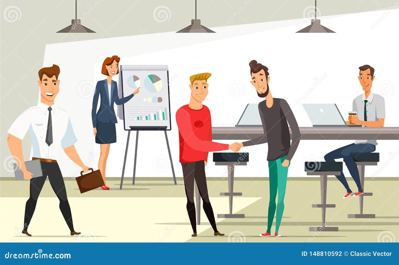 Kontorsarbetare på arbetsplatsvektorillustrationen