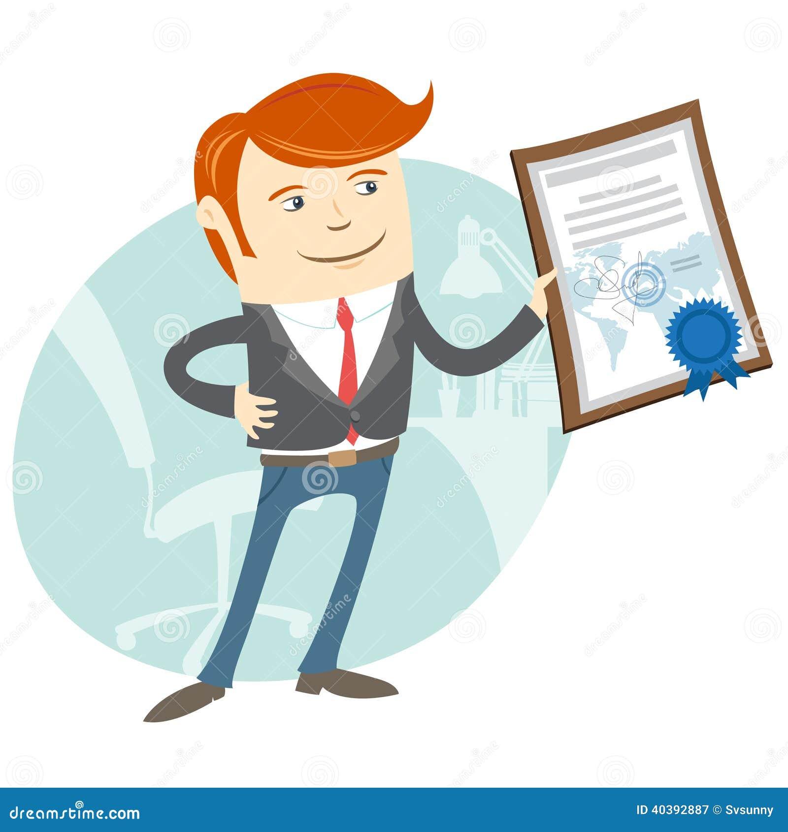 Kontorsman som visar ett diplom