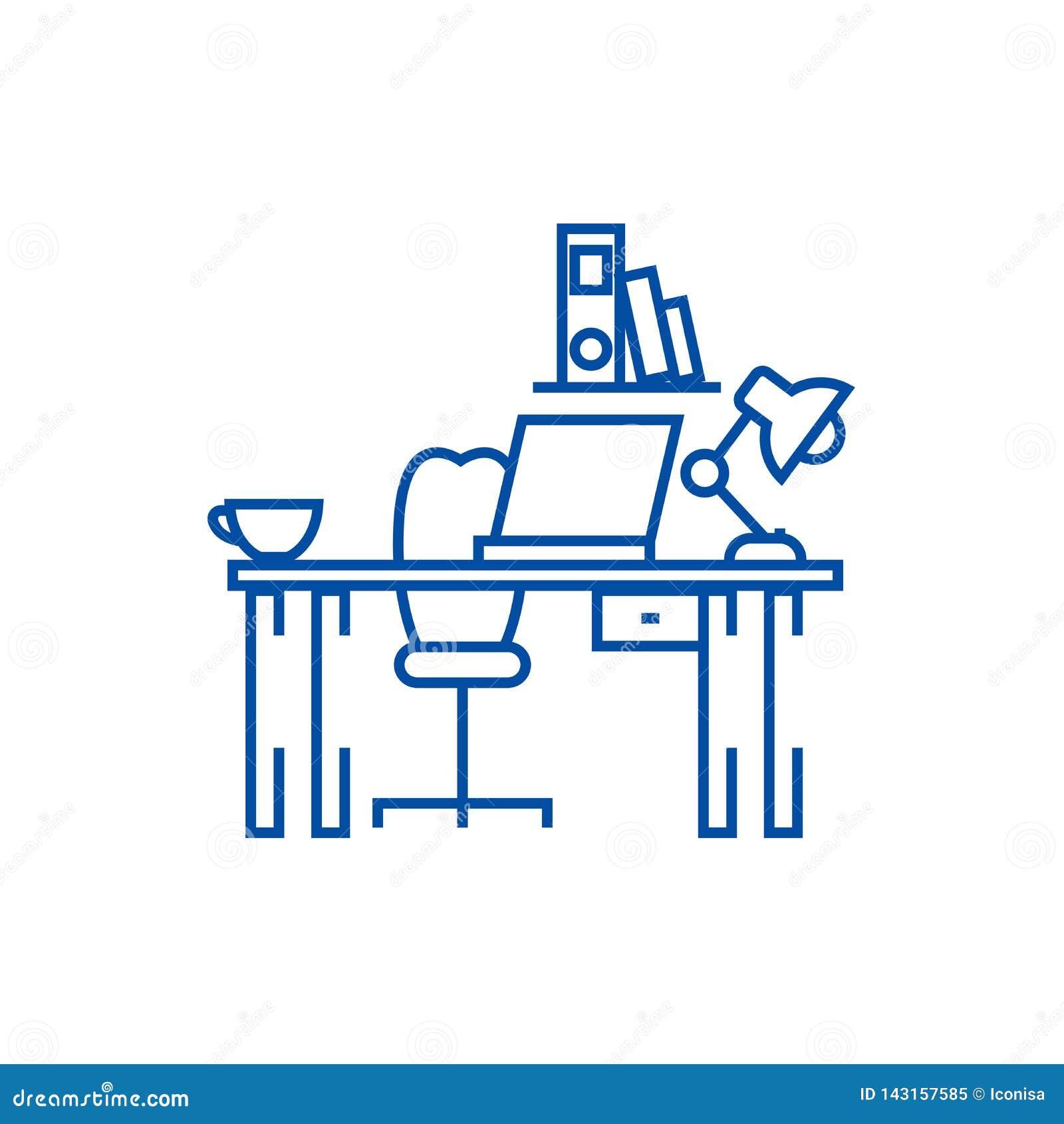 Kontorsskrivbord, hem- skrivbordlinje symbolsbegrepp Kontorsskrivbord, plant vektorsymbol för hem- skrivbord, tecken, översiktsil
