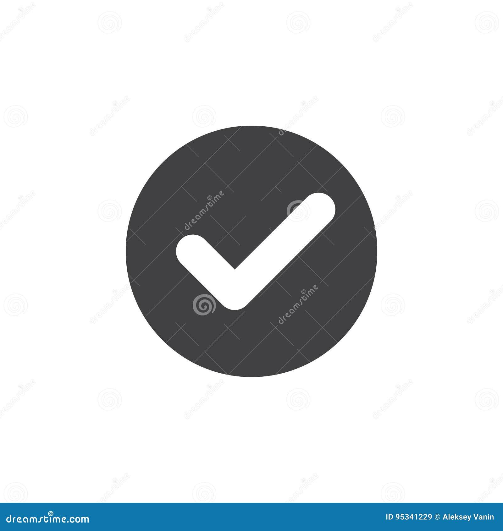 Kontrollera den plana symbolen för checkmarken Rund enkel knapp, runt vektortecken
