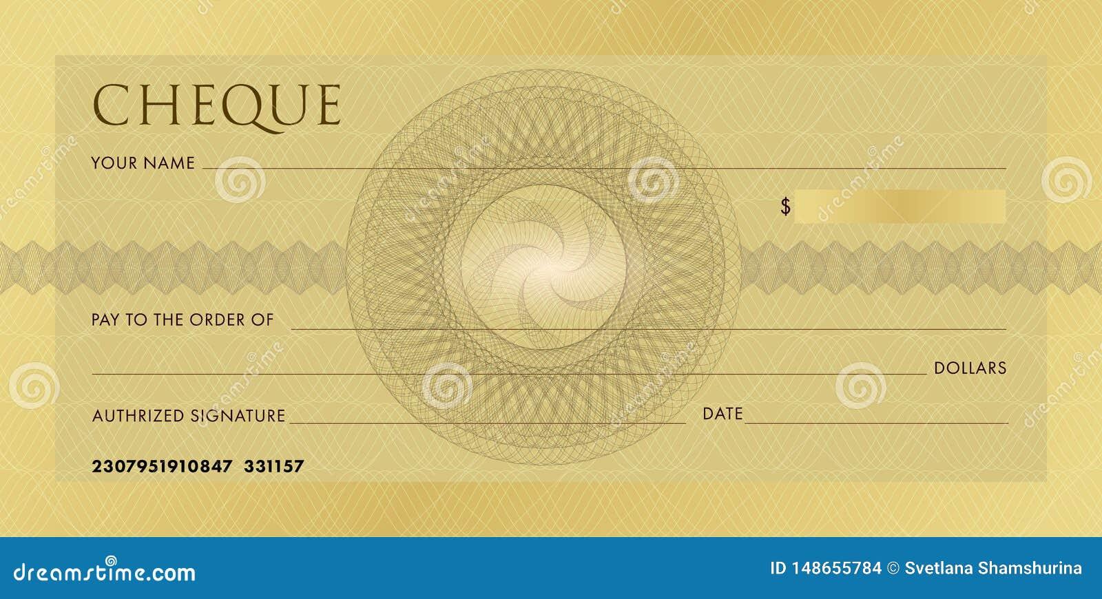 Kontrollera mallen, checkbokmall Tom guld- aff?rsbankcheck med guillochemodellrosetten och abstrakt begrepp