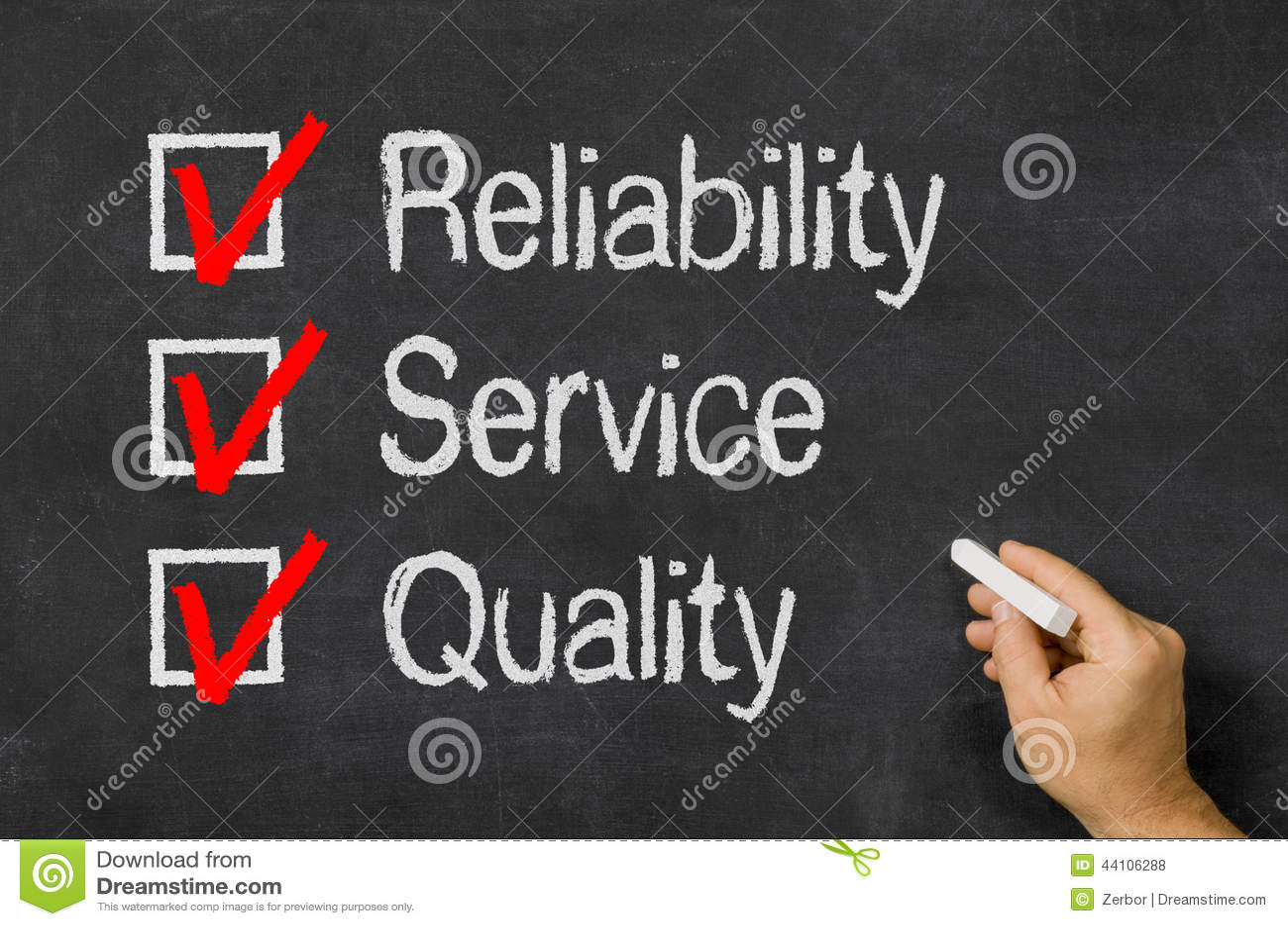 Kontrollistapålitlighet, service och kvalitet