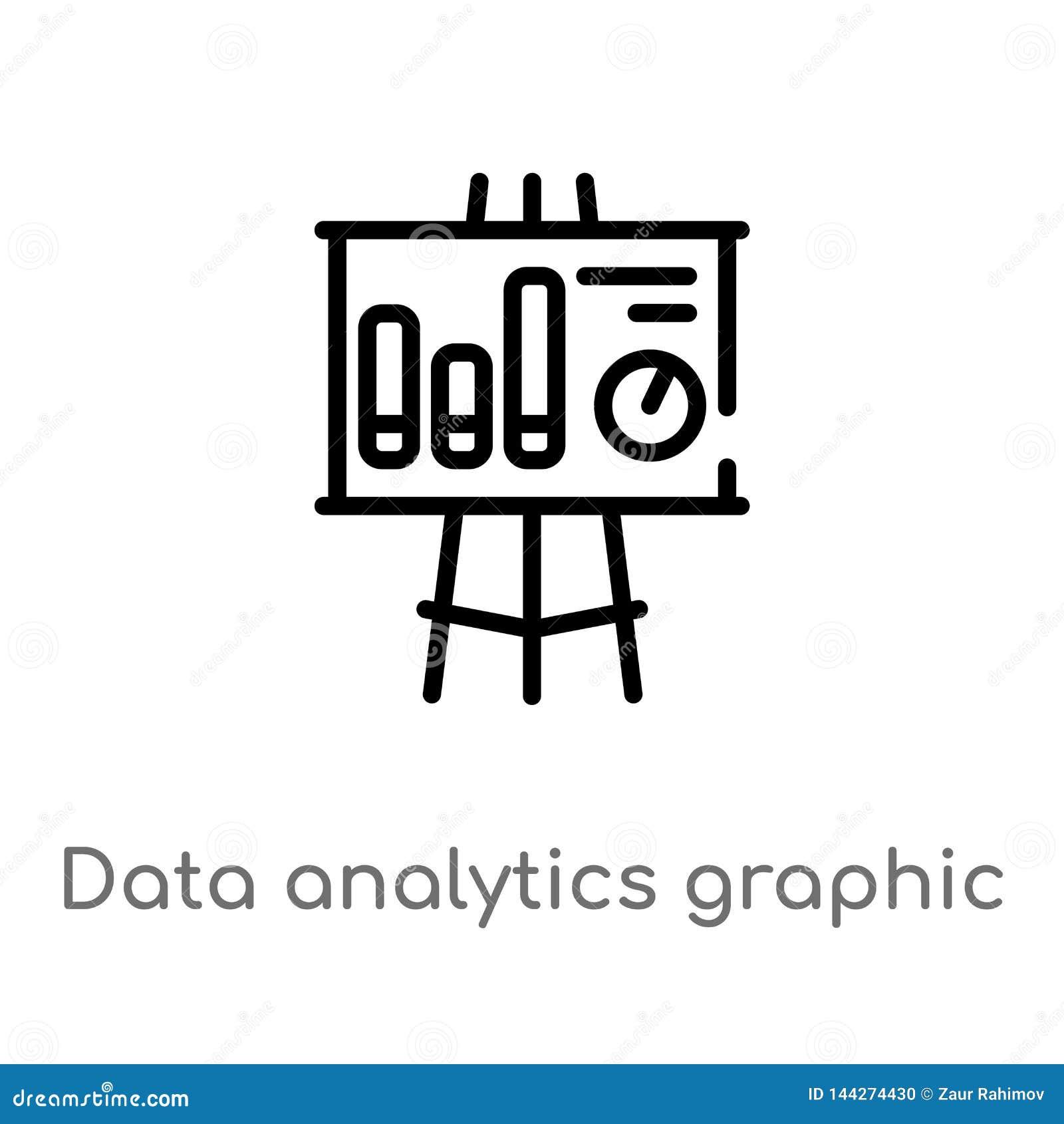 Konturów dane analityka graficzne na prezentacji ekranizują wektorową ikonę odosobniona czarna prosta kreskowego elementu ilustra