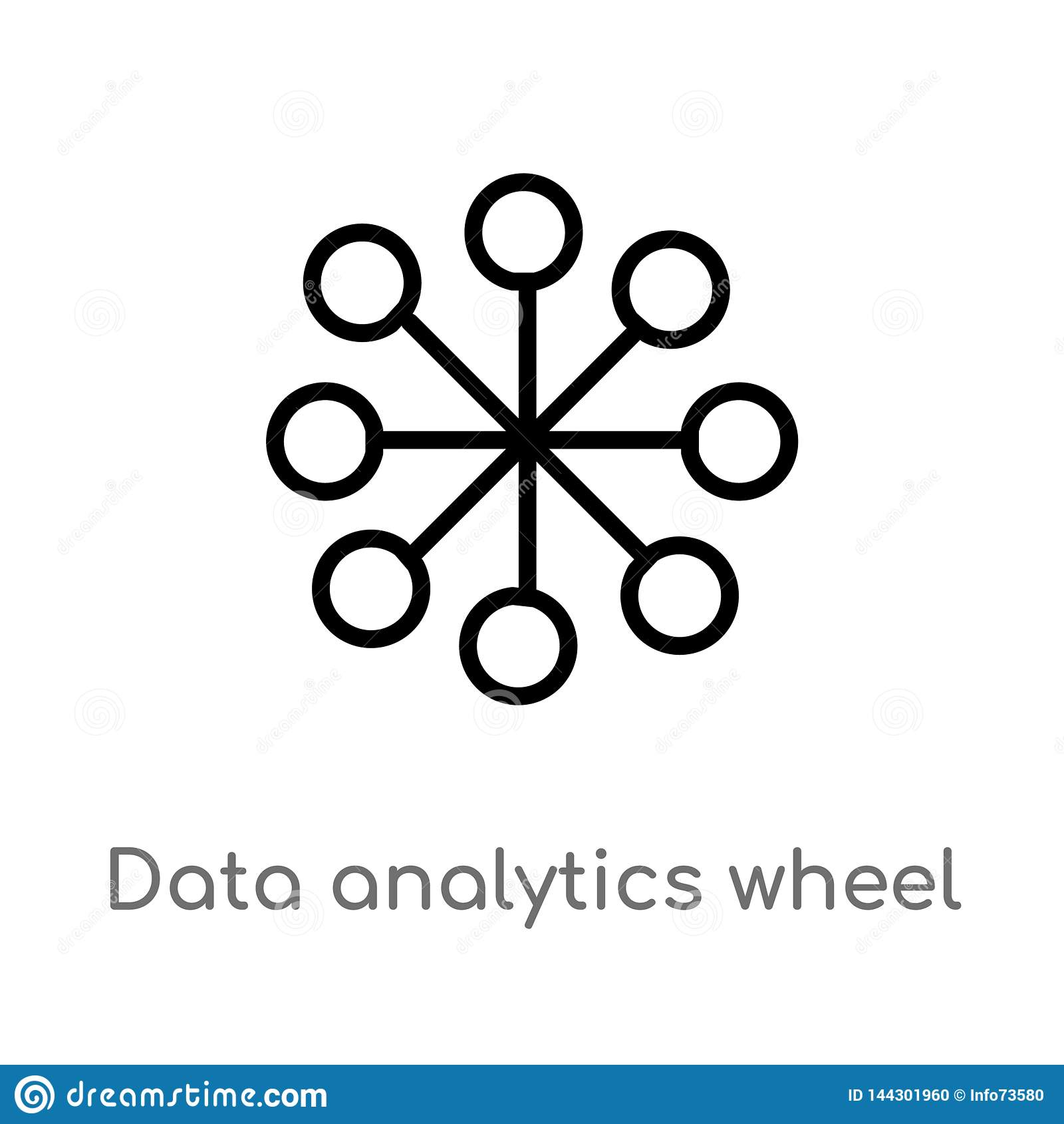 Konturów dane analityka koła wektoru ikona odosobniona czarna prosta kreskowego elementu ilustracja od interfejs u?ytkownika poj?