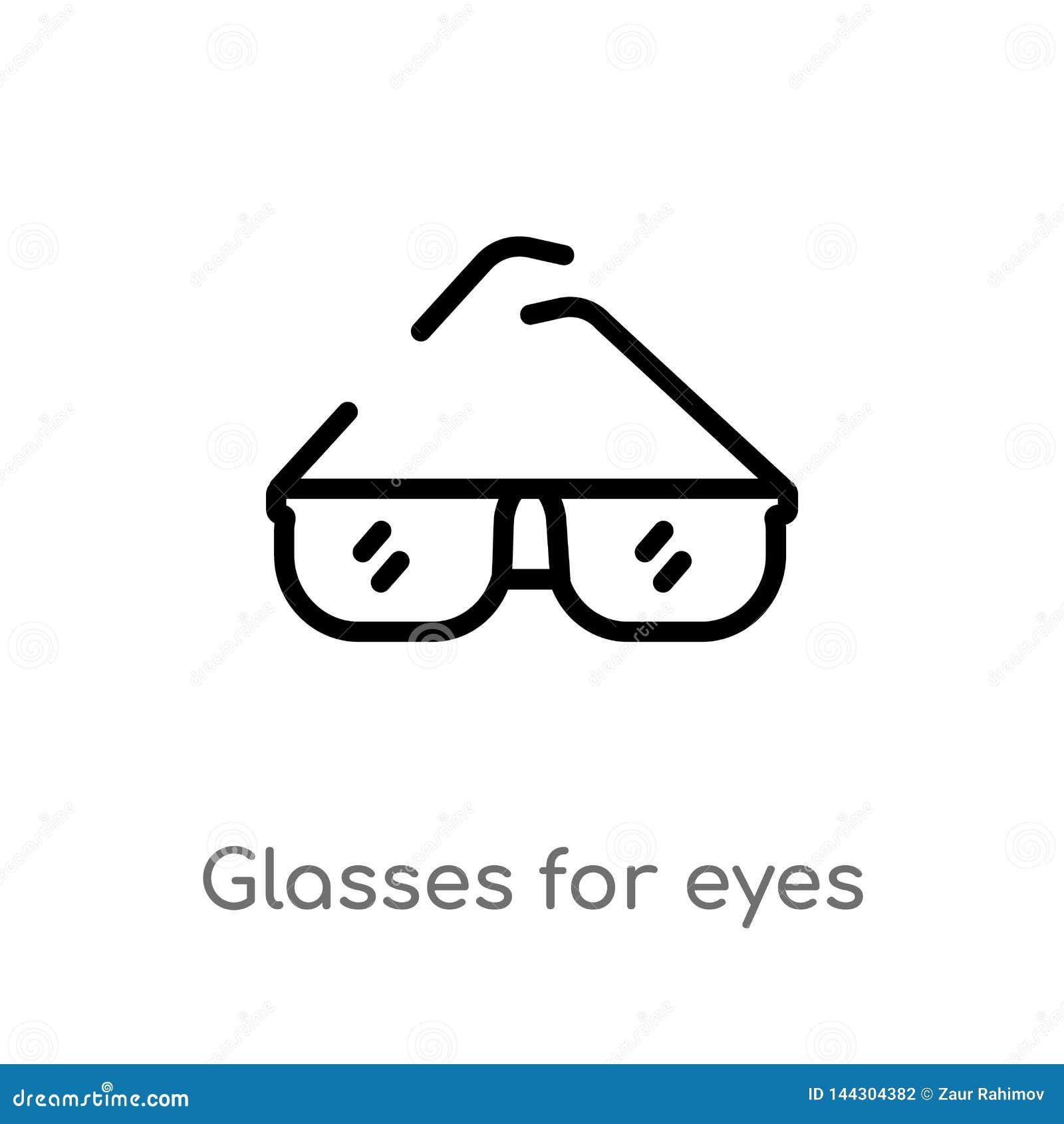 Konturów szkła dla oko wektoru ikony odosobniona czarna prosta kreskowego elementu ilustracja od kobiety ubraniowego pojęcia Edit