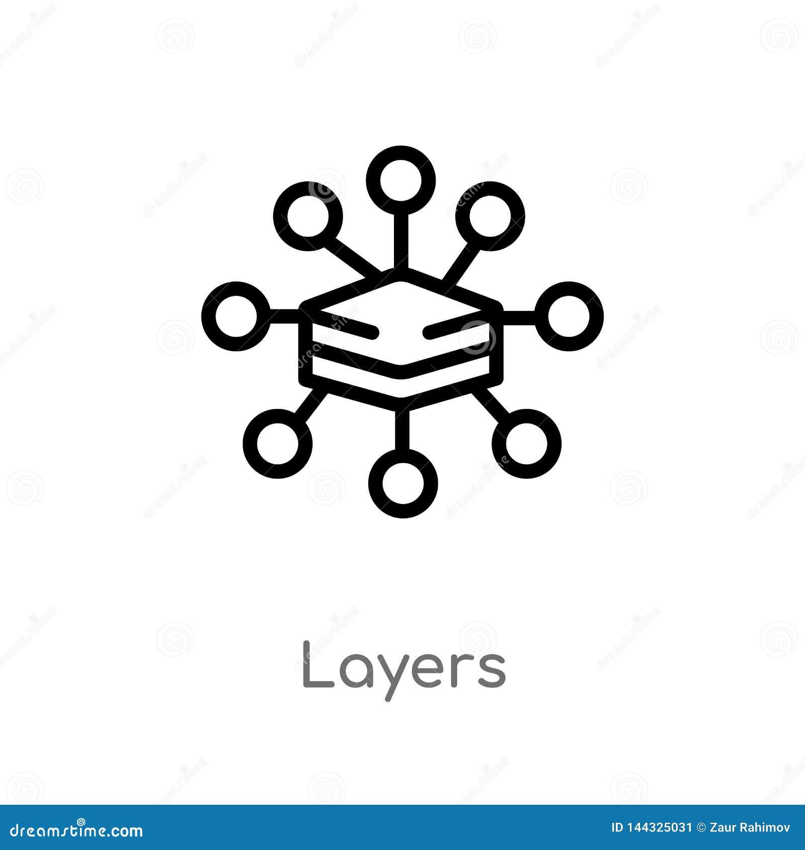 Kontur ablegruje wektorową ikonę odosobniona czarna prosta kreskowego elementu ilustracja od du?ego dane poj?cia editable wektoro