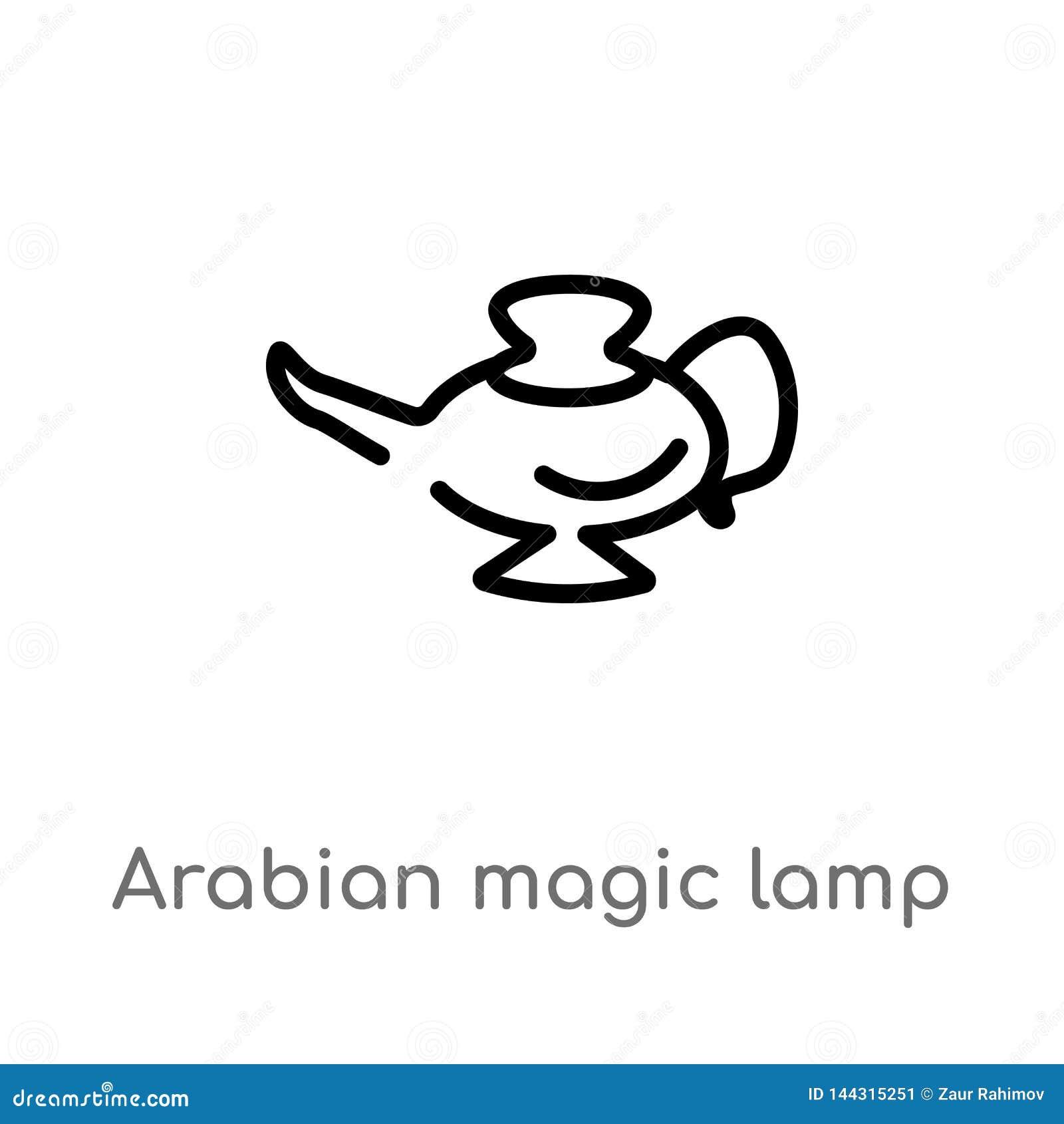 Kontur arabska magiczna lampowa wektorowa ikona