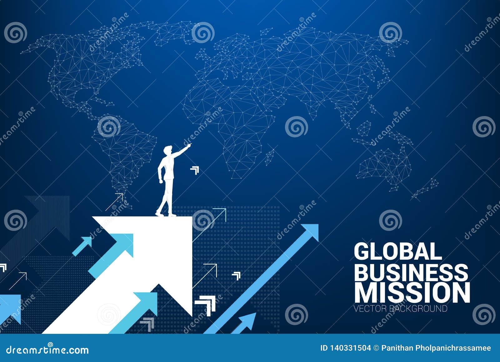Kontur av affärsmanpunkt framåtriktat på att flytta upp pilen med världskartabakgrund