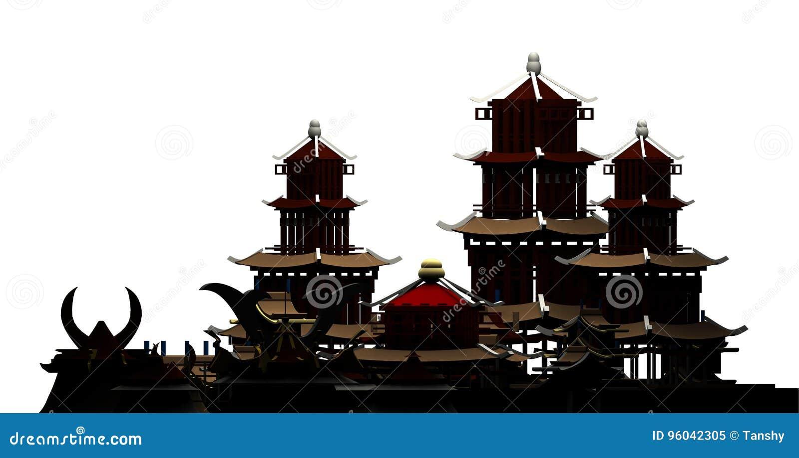 Kontur av den kinesiska tolkningen för forntida stad 3d för byggnadspagod