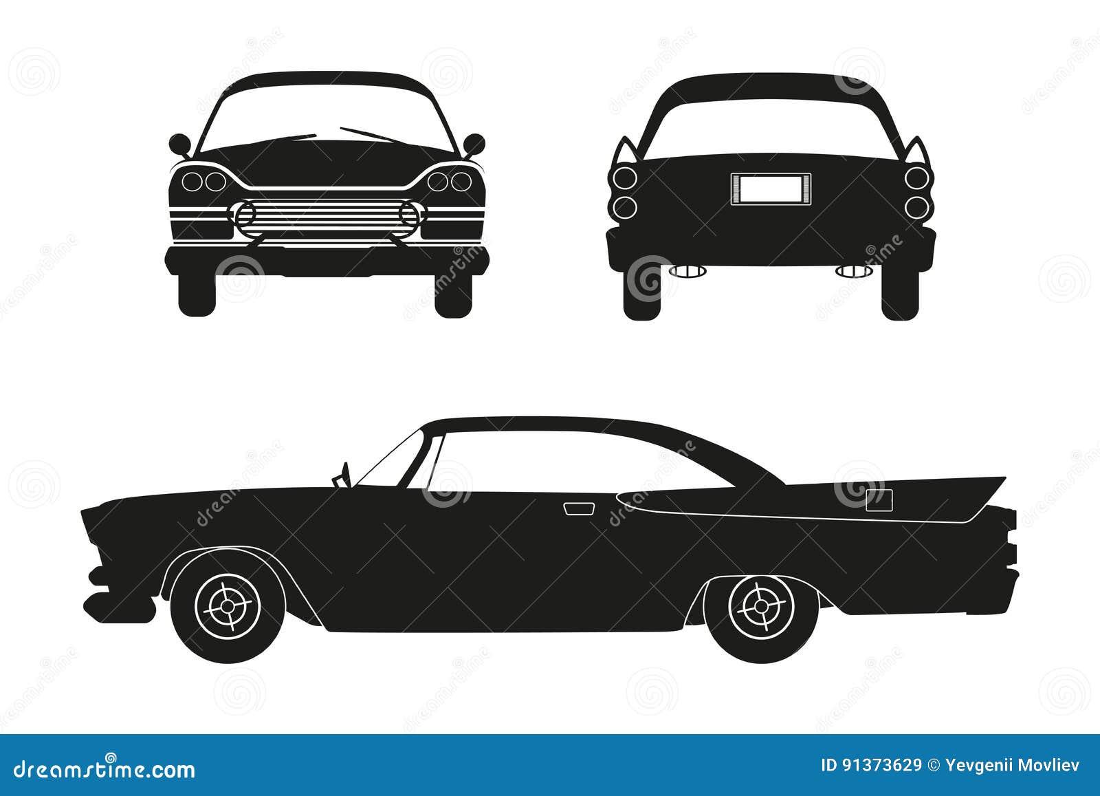 Kontur av den retro bilen Tappningcabriolet Framdel-, sido- och baksidasikt