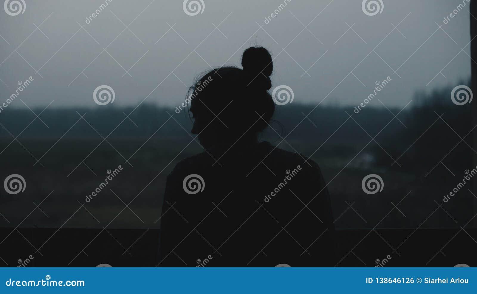 Kontur av den unga härliga flickan i byn Modell på bakgrund av en skogkvinnaflicka framme av fönstret