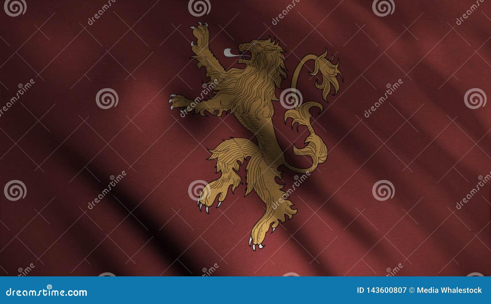 Kontur av det guld- lejonet som modigt står på två ben på bakgrund av framkallning av den röda flaggan djur Emblem av huset