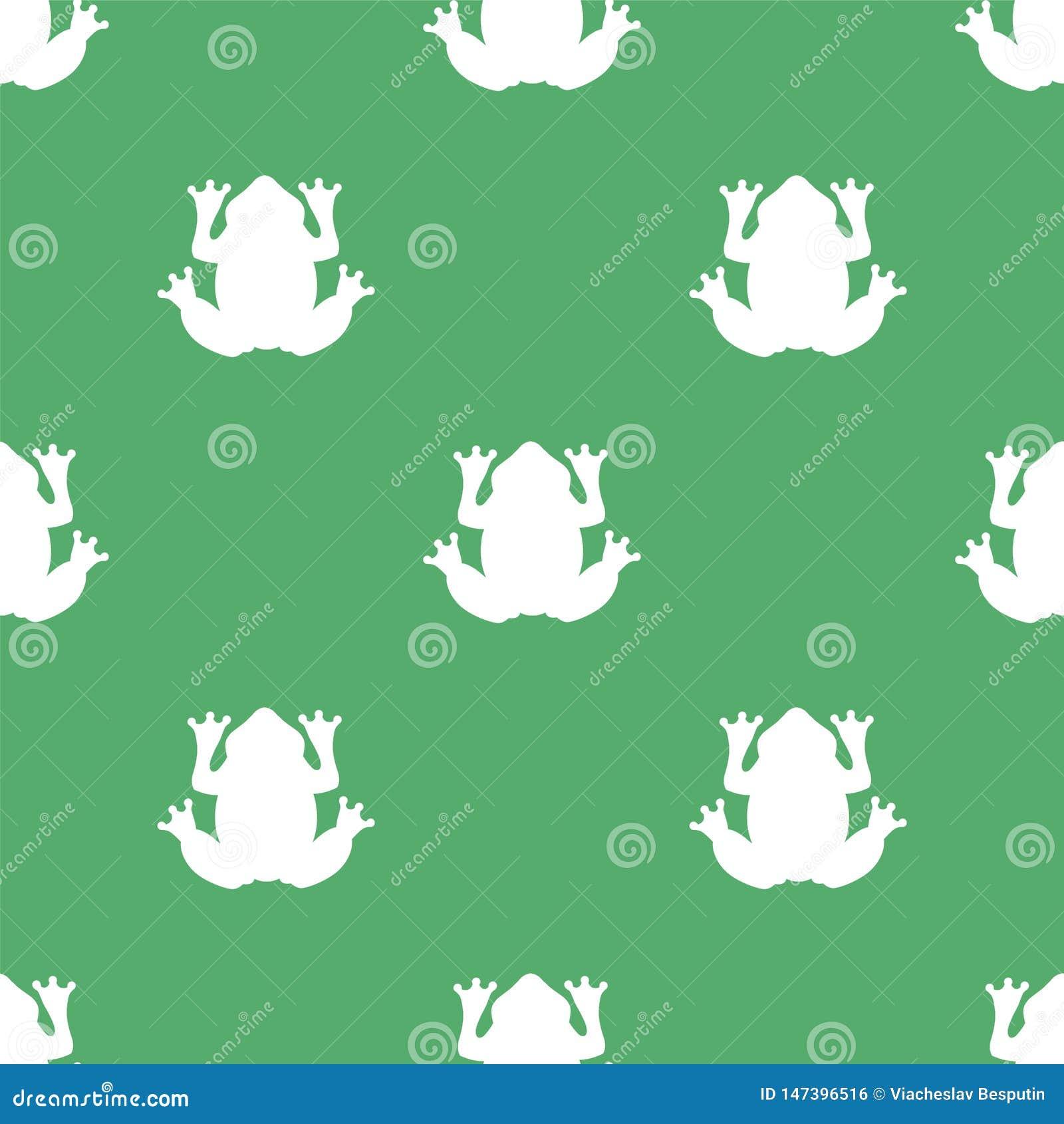 Kontur av en vit groda på en grön bakgrund