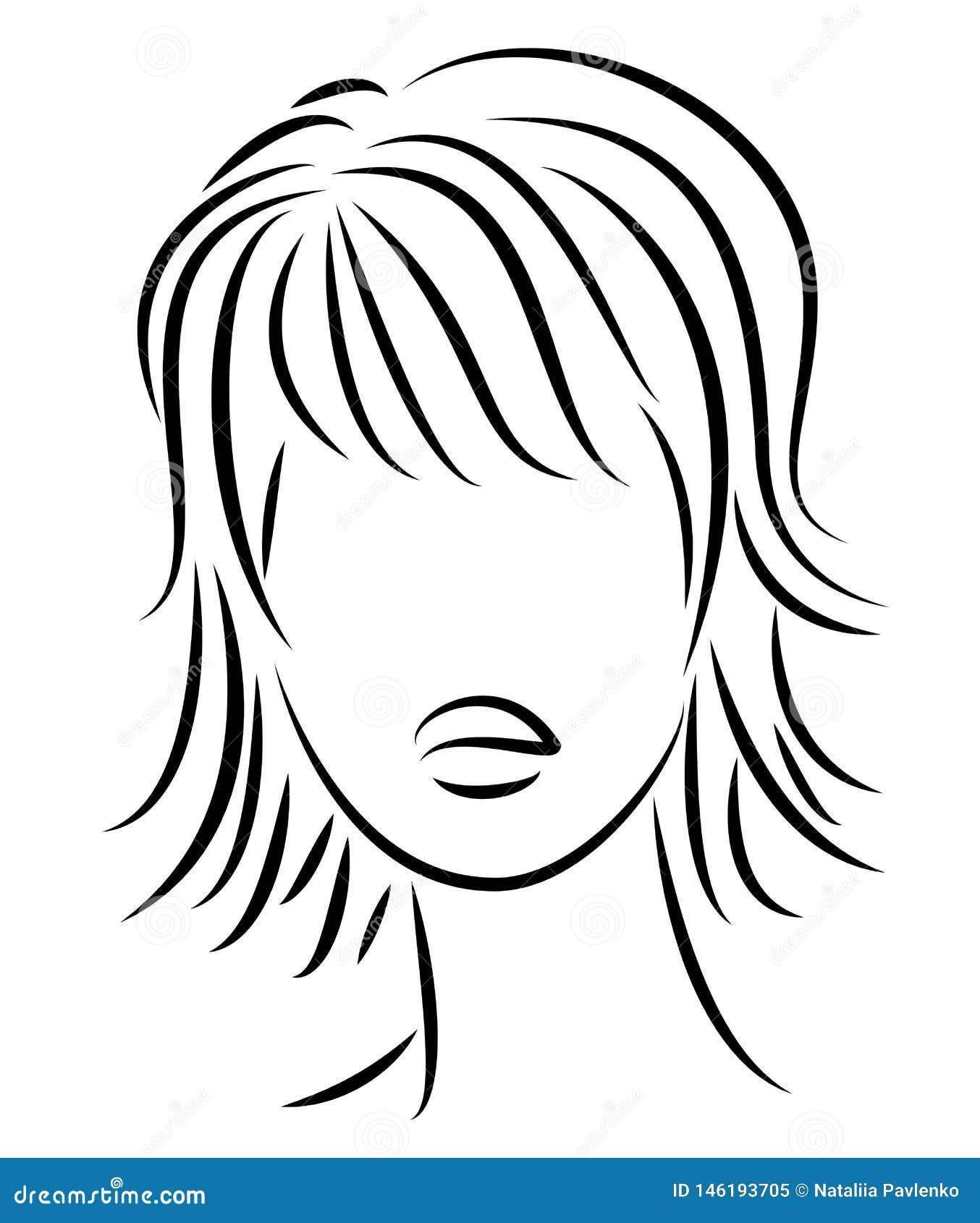 Kontur av ett huvud av en s?t dam En flicka visar en frisyr av en kvinna p? medel- och l?ngt h?r Passande f?r logo och att annons