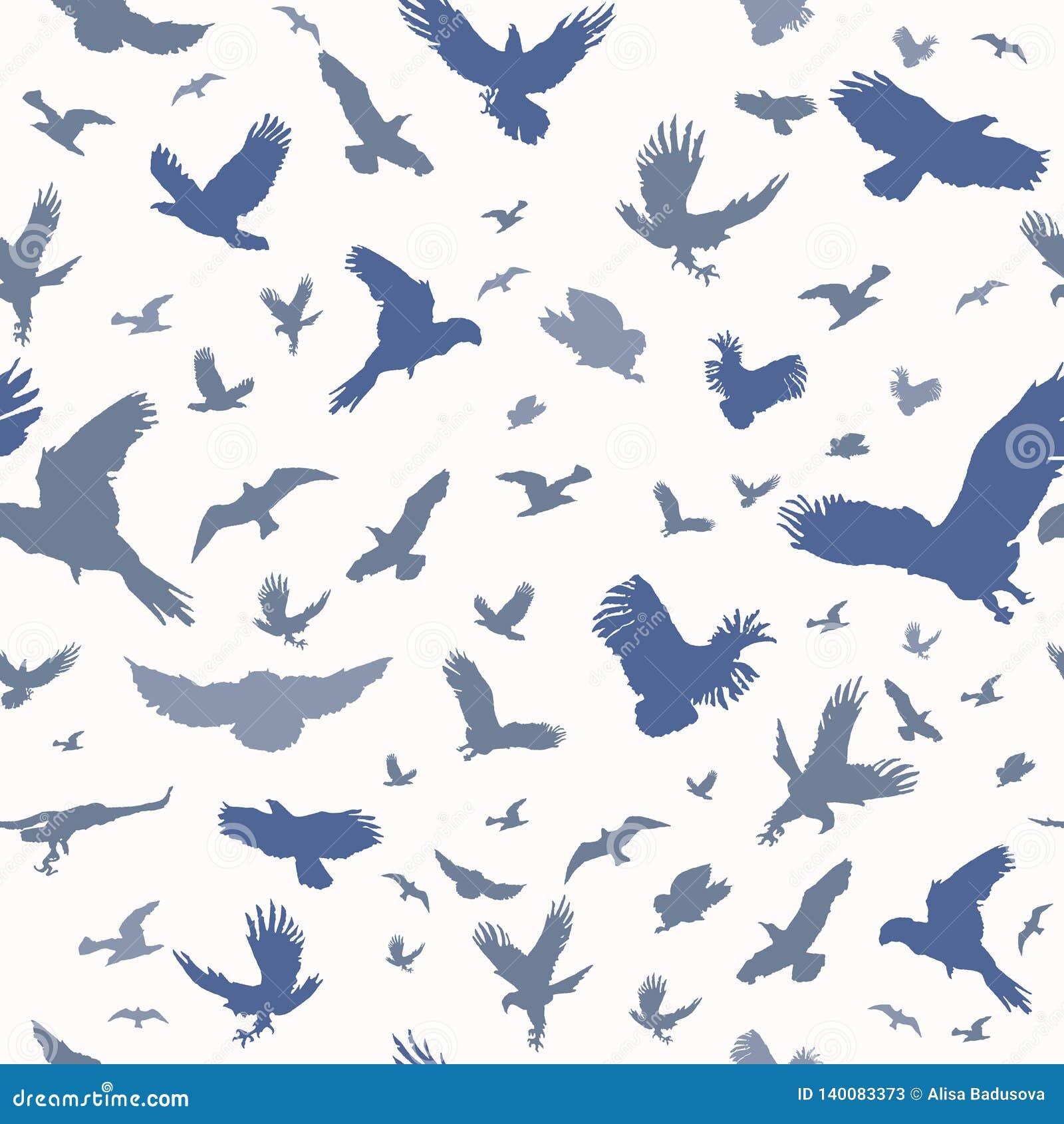 Kontur av flygfåglar på sömlös modell för vit bakgrund Pråligt tatueringfärgpulver för inspirerande kropp Ställ in av texturerat
