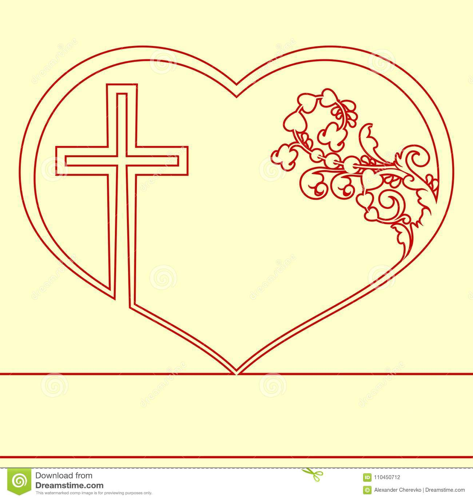 Kontur av hjärta med prydnaden och korset