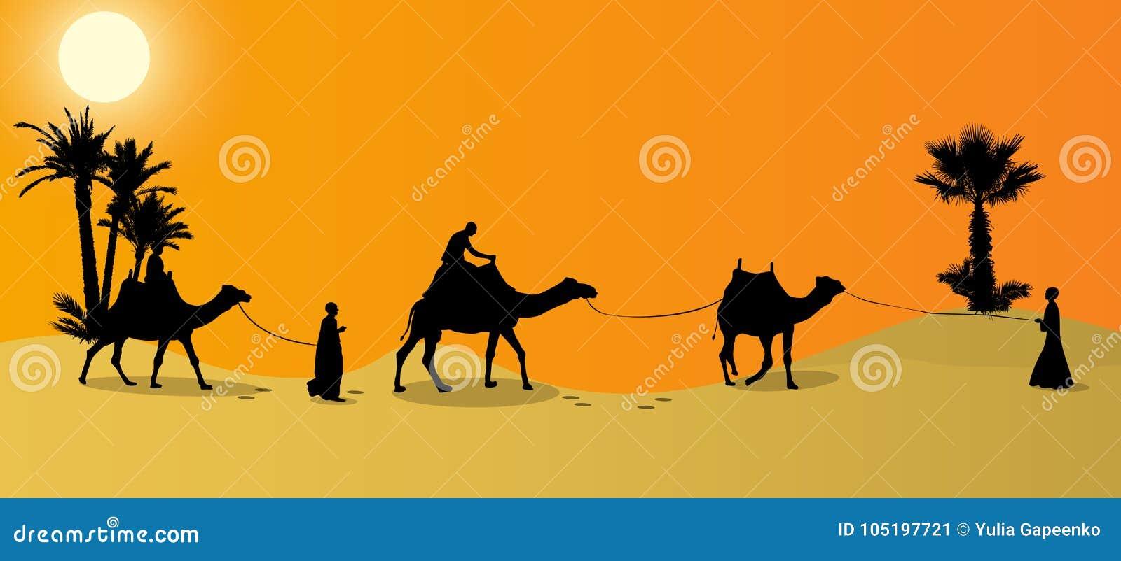 Kontur av husvagnmit-folk och kamel som irrar till och med öknarna
