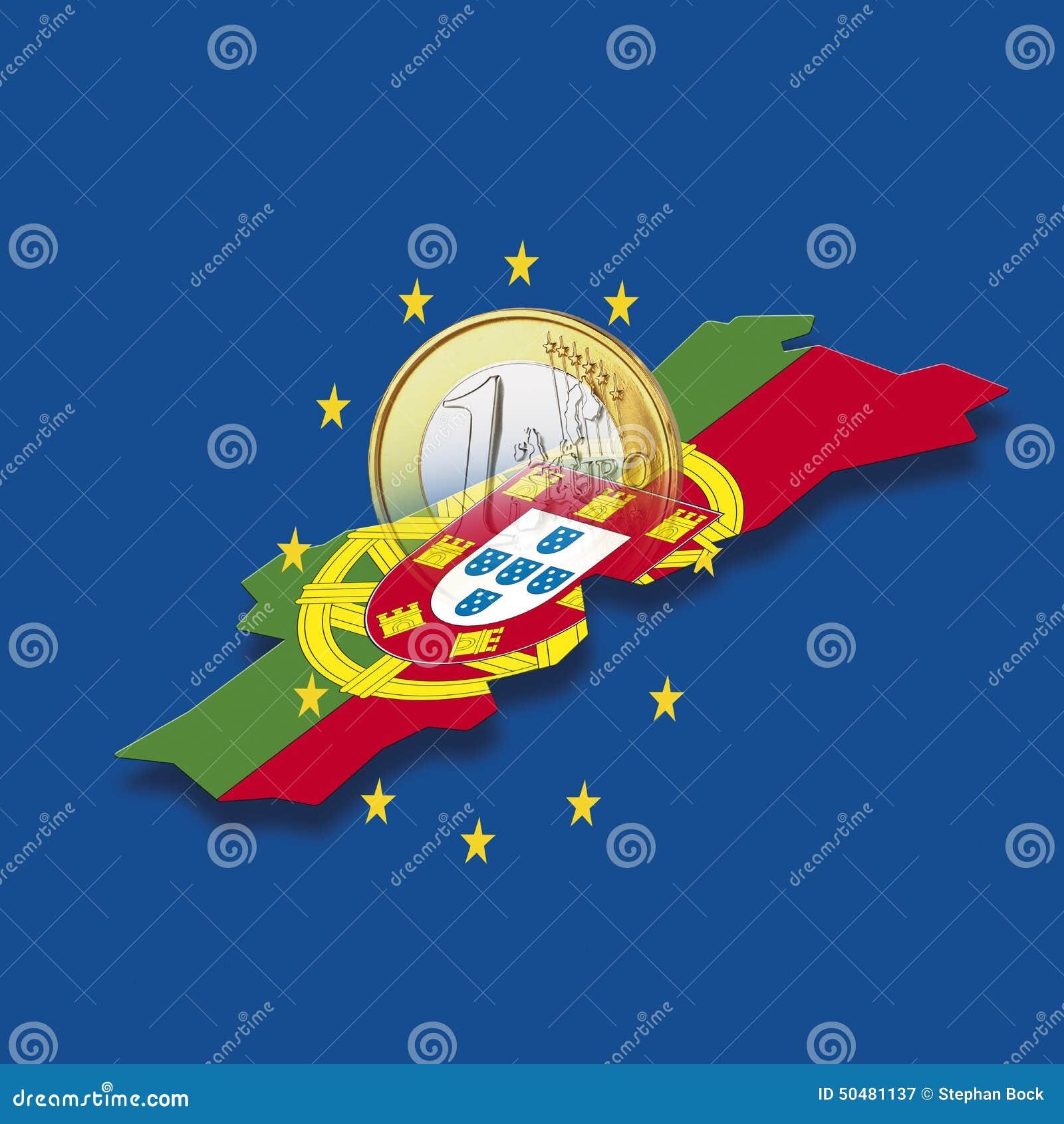 Kontur av Portugal med stjärnor för europeisk union och euromyntet mot blå bakgrund, digital komposit