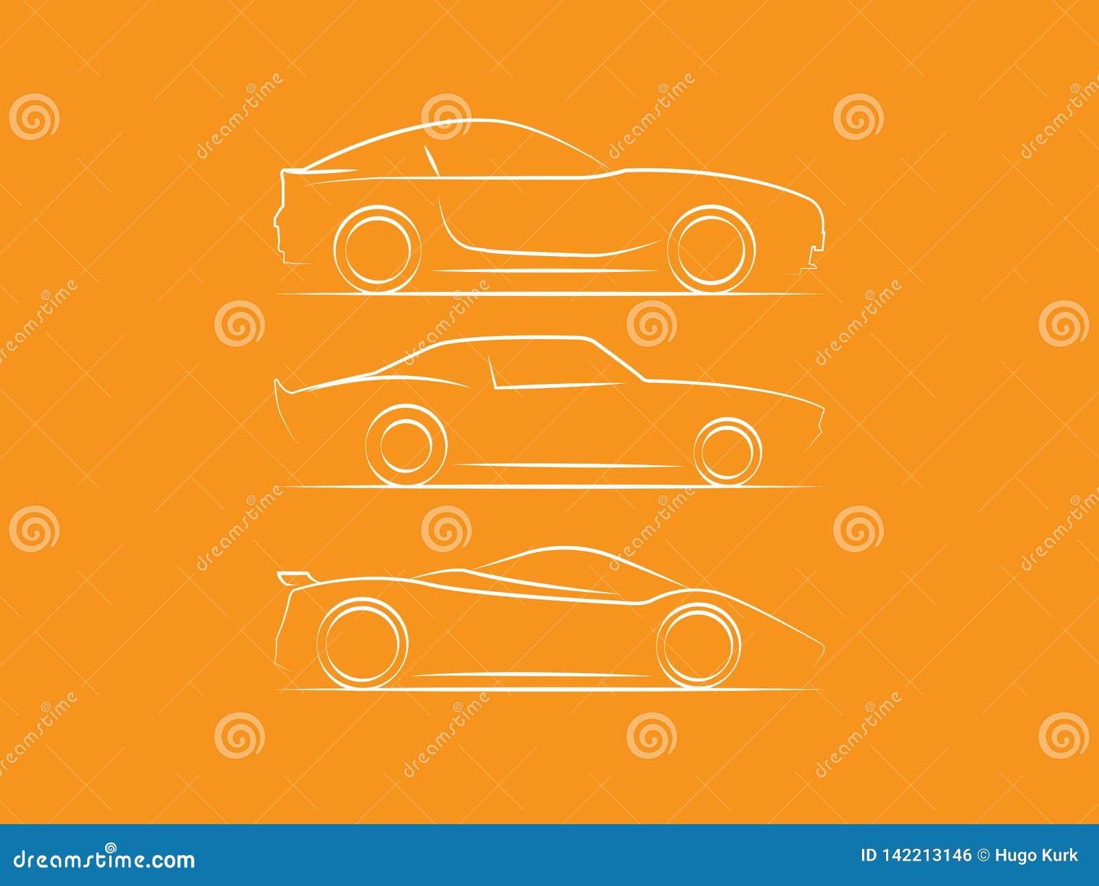 Kontur för översikt för sikt för bilsidosida
