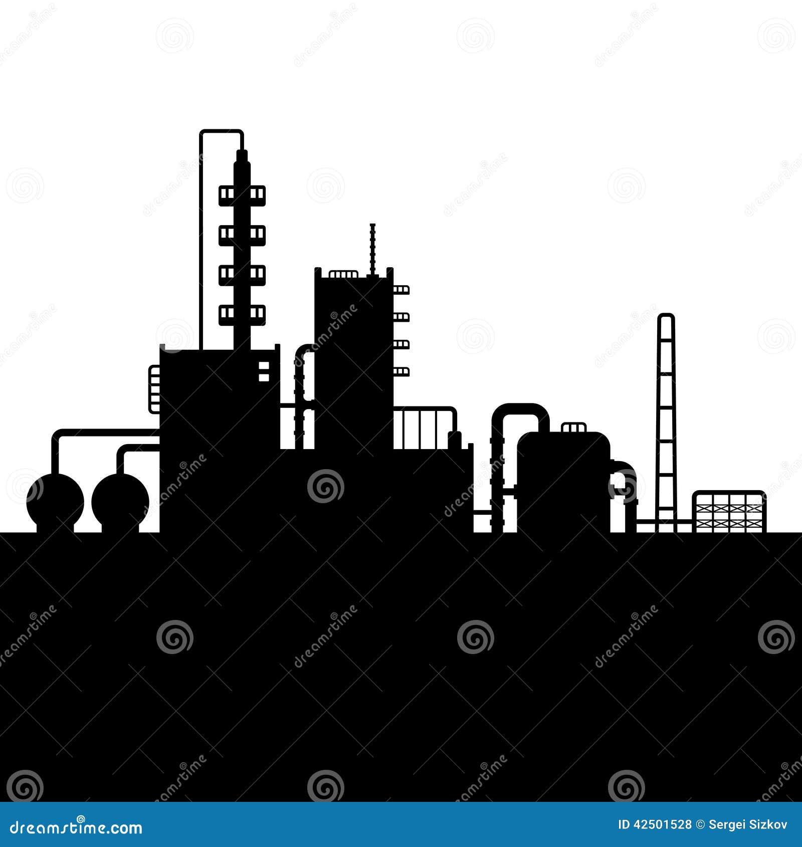 Kontur för fabrik för oljeraffinaderiväxt och kemikalie
