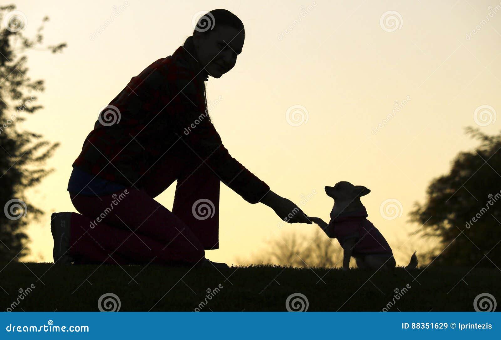 Kontur för kvinna- och hund` s