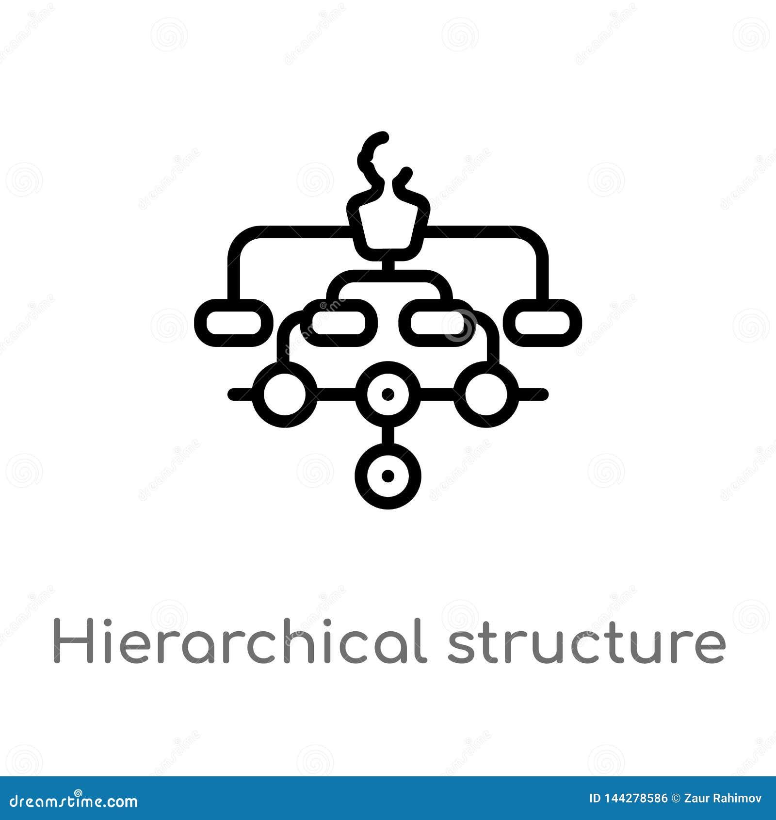 Kontur hierarchical struktury wektoru ikona odosobniona czarna prosta kreskowego elementu ilustracja od cyfrowego gospodarki poj?
