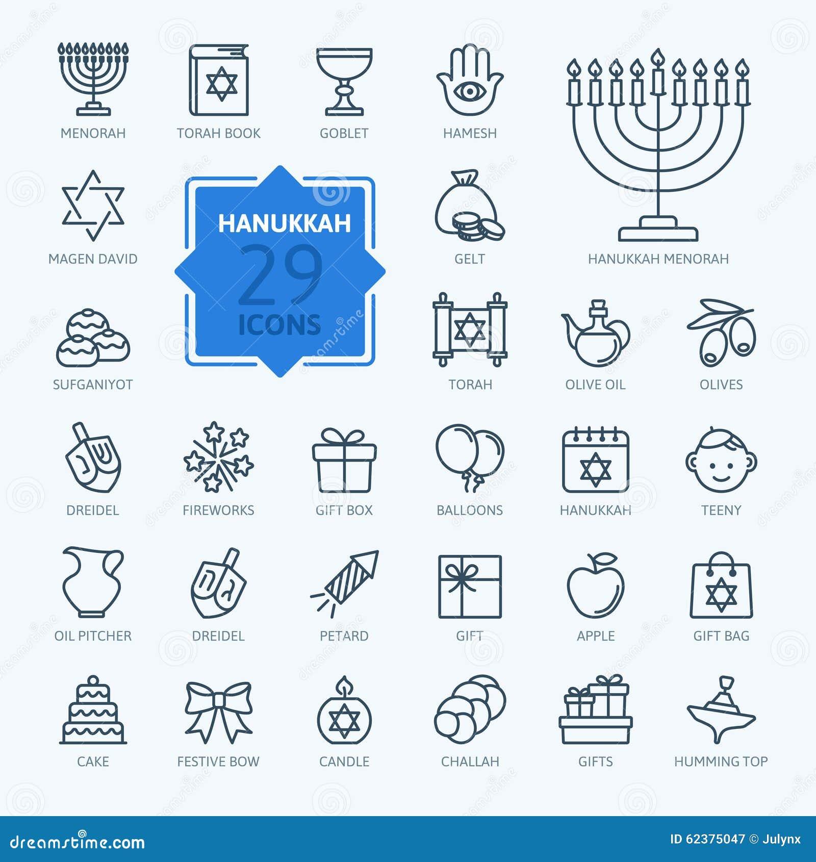 Kontur ikony kolekcja - symbole Hanukkah
