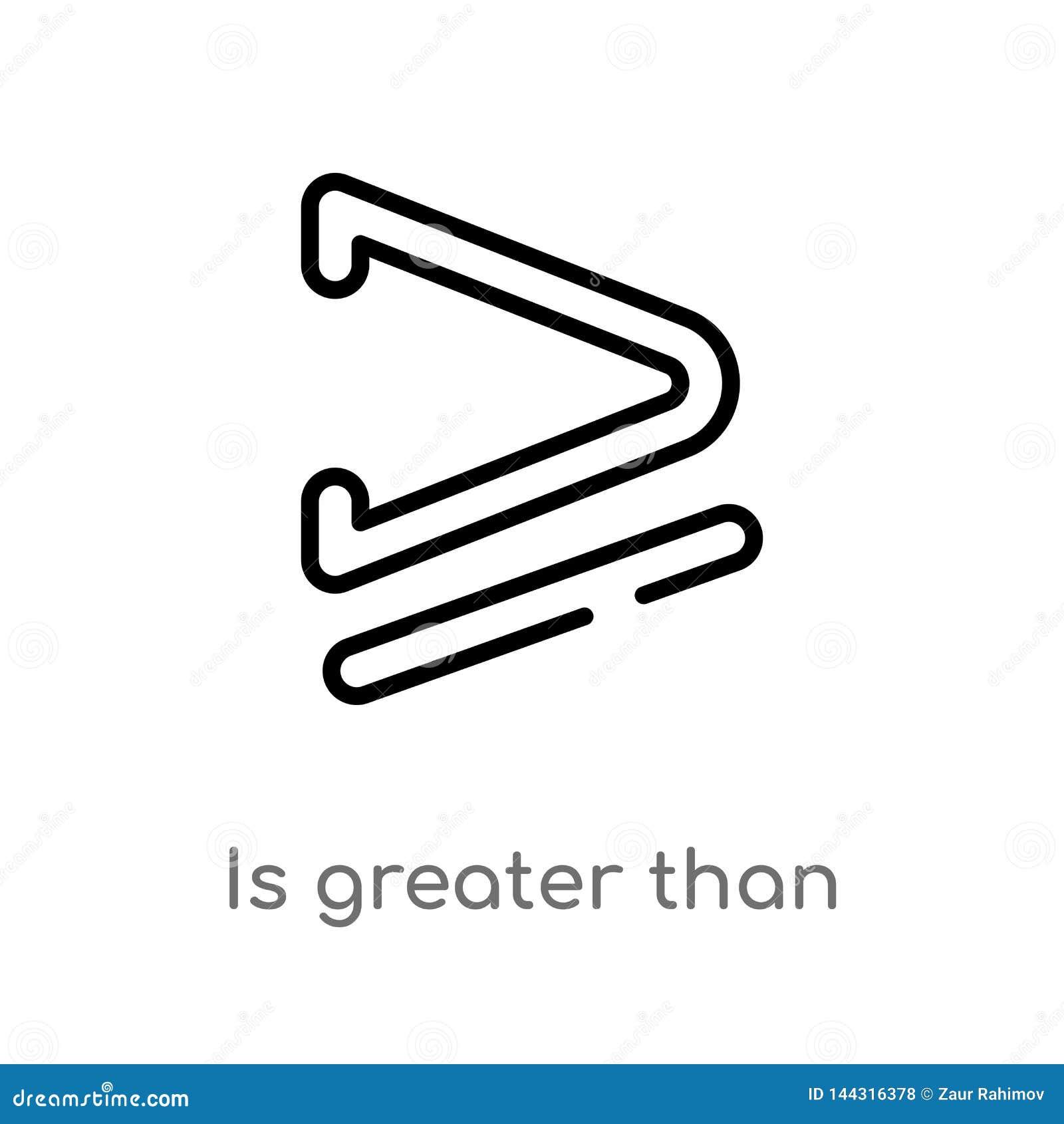 Kontur jest wi?kszy ni? lub r?wny wektorowa ikona odosobniona czarna prosta kreskowego elementu ilustracja od znaka poj?cia _