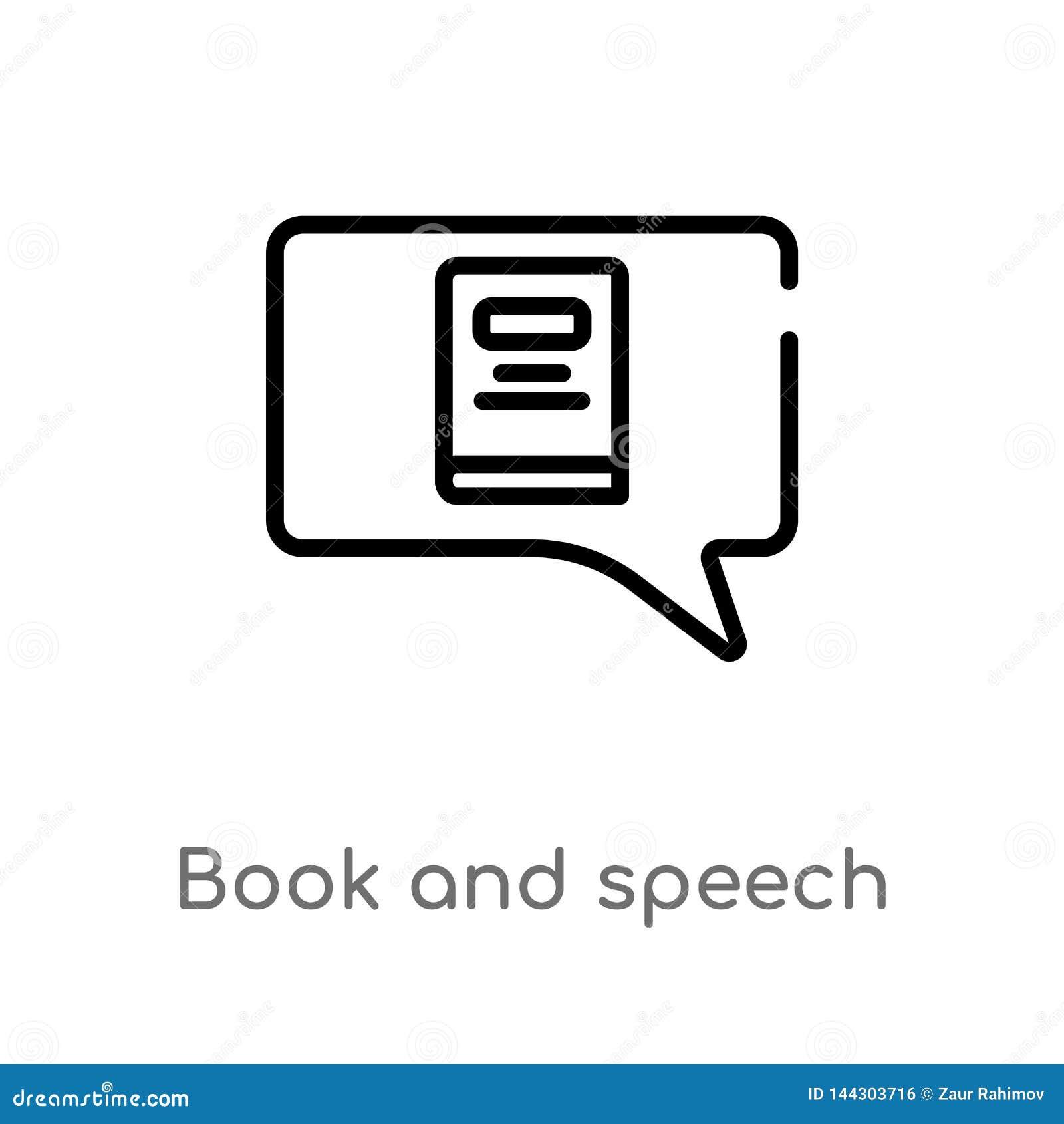 Kontur mowy i ksi??ki b?bla wektoru ikona odosobniona czarna prosta kreskowego elementu ilustracja od sieci poj?cia Editable wekt