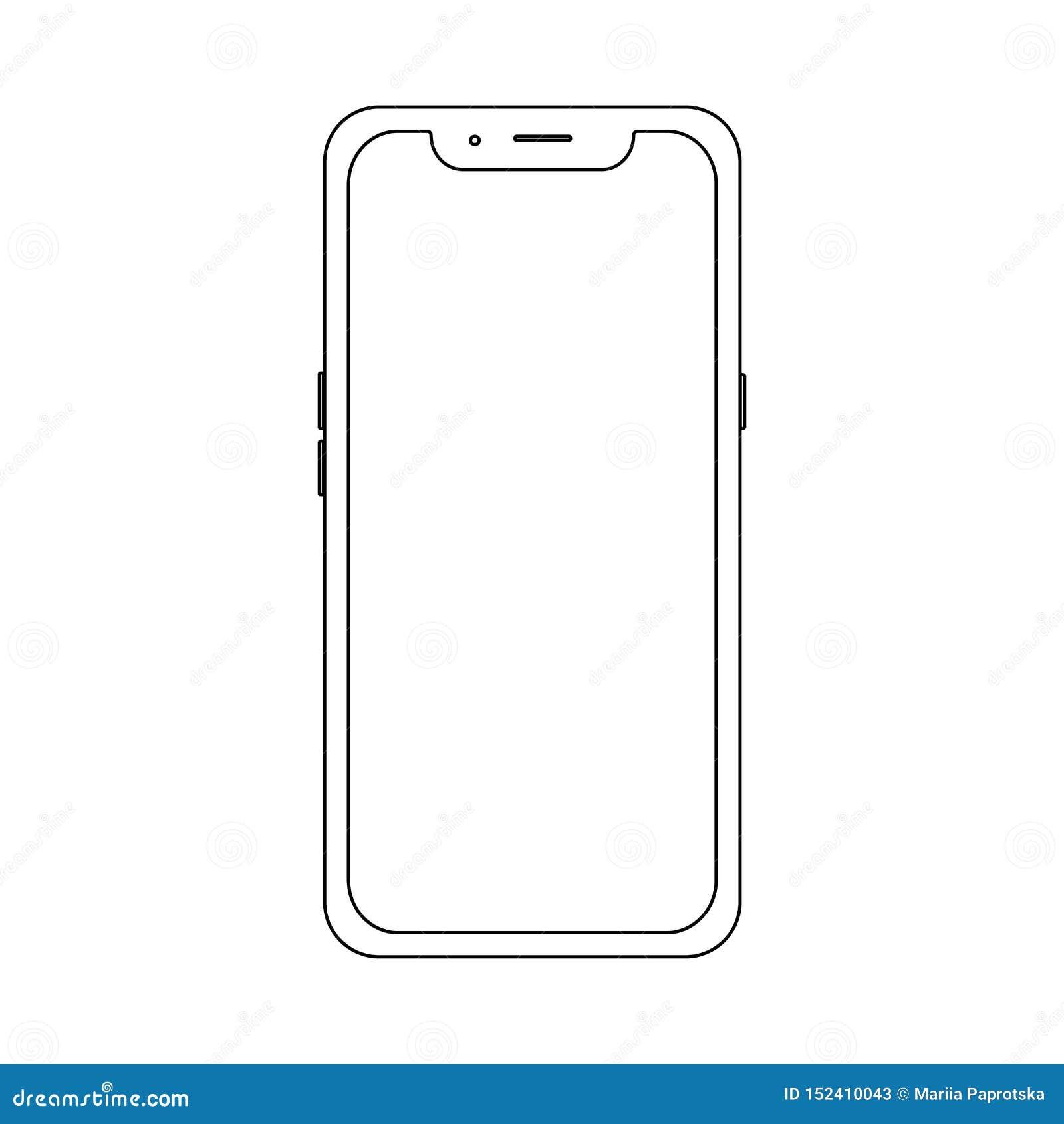 Kontur nowożytny telefon Akcyjna wektorowa ilustracja dla sieci elementu, gry, druku i zastosowania mockup,