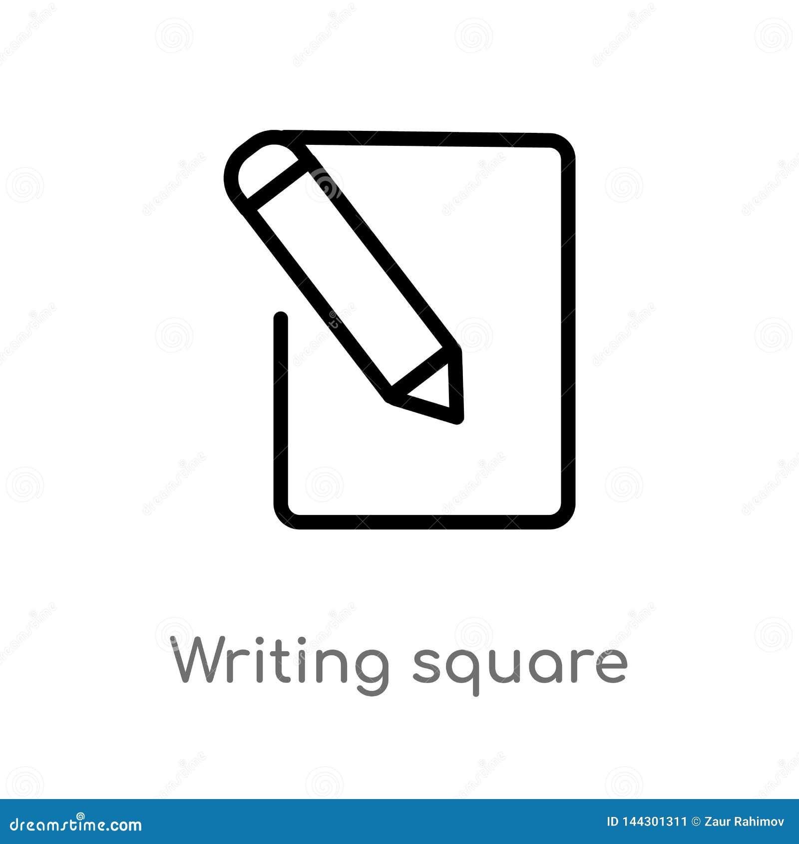 Kontur pisze kwadratowej wektorowej ikonie odosobniona czarna prosta kreskowego elementu ilustracja od interfejs użytkownika poję
