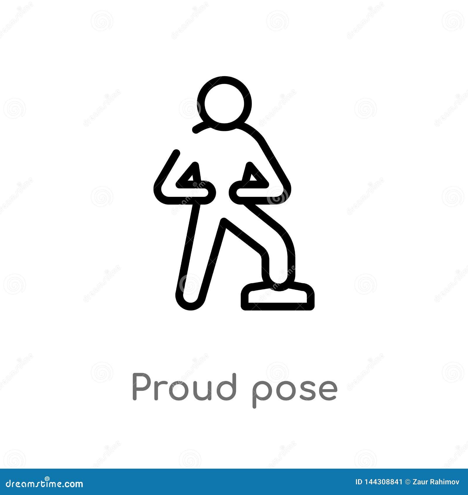 Kontur pozy wektoru dumna ikona odosobniona czarna prosta kreskowego elementu ilustracja od istoty ludzkiej pojęcia editable wekt