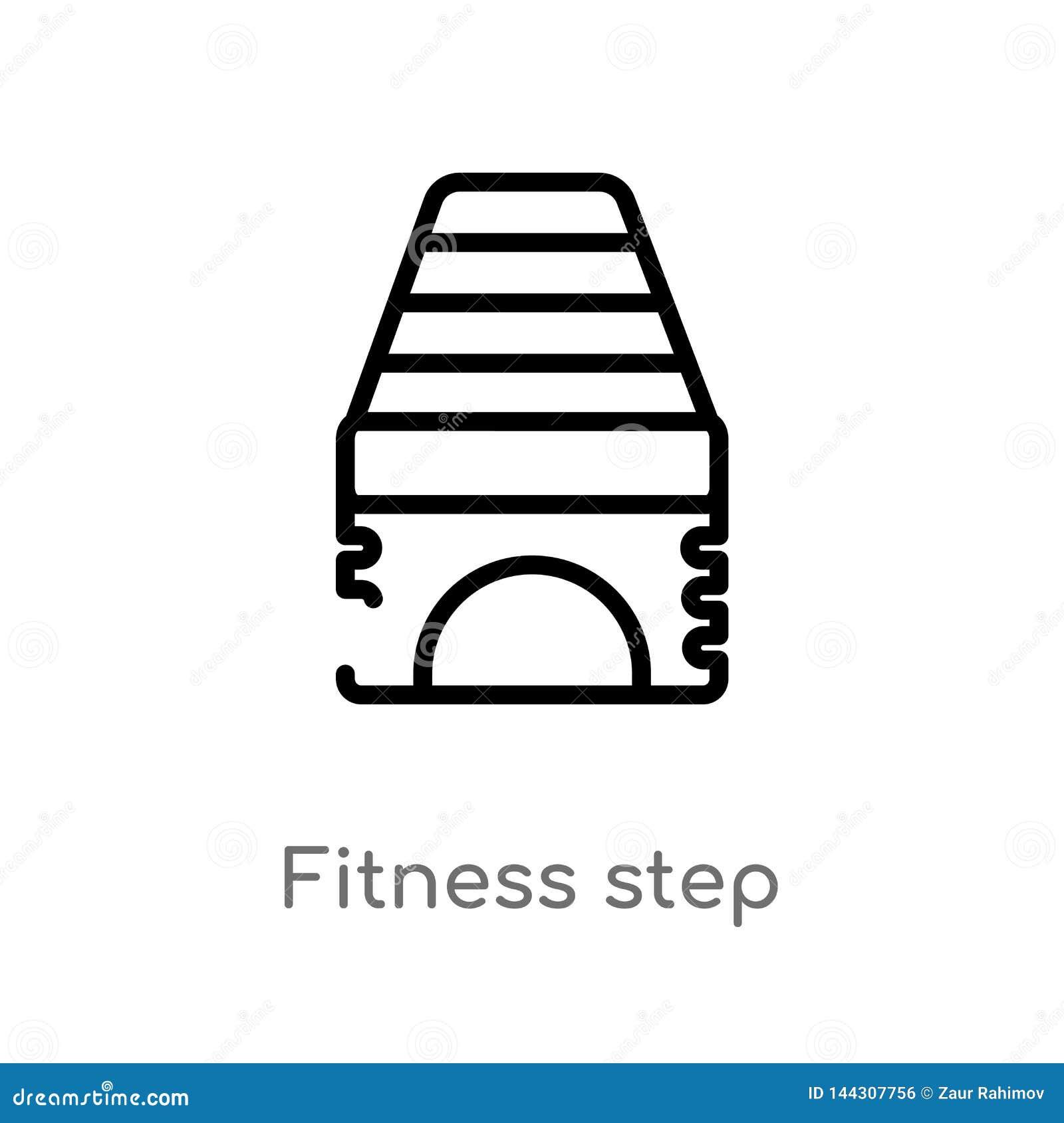 Kontur sprawno?ci fizycznej kroka wektoru ikona odosobniona czarna prosta kreskowego elementu ilustracja od gym i sprawno?ci fizy