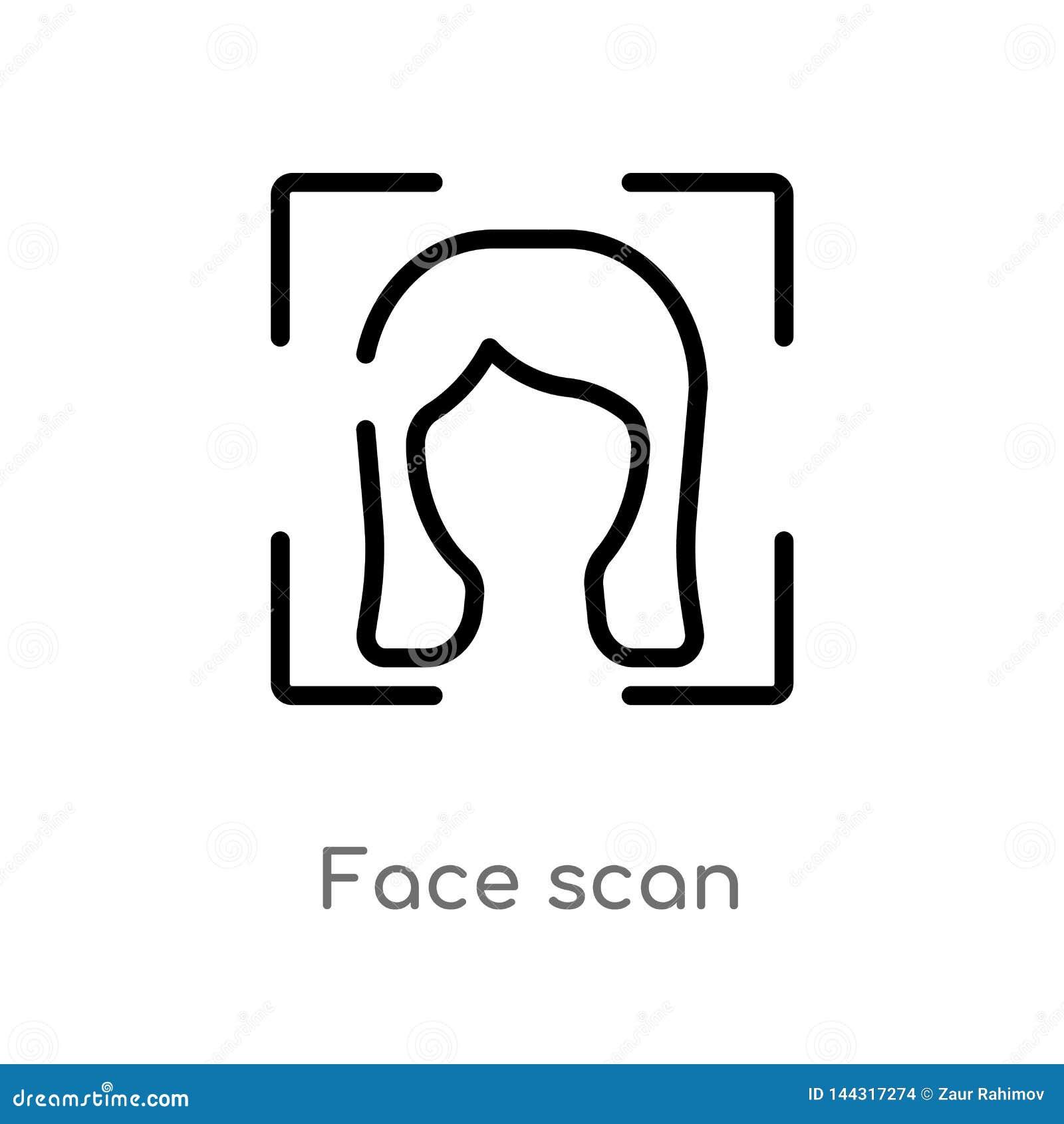 Kontur twarzy obrazu cyfrowego wektoru ikona odosobniona czarna prosta kreskowego elementu ilustracja od mądrze domowego pojęcia