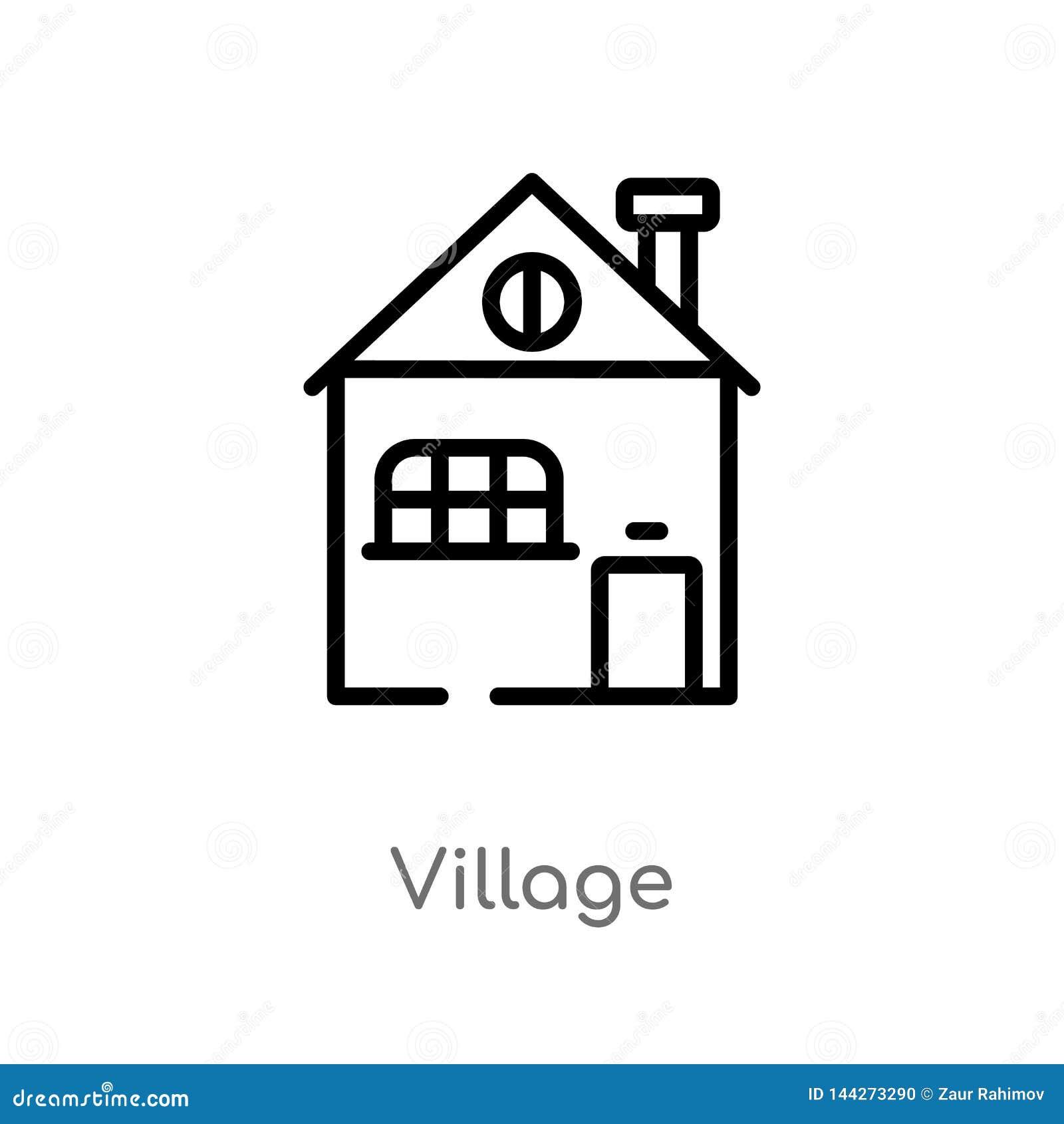 Kontur wioski wektoru ikona odosobniona czarna prosta kreskowego elementu ilustracja od budynku pojęcia Editable wektorowy uderze