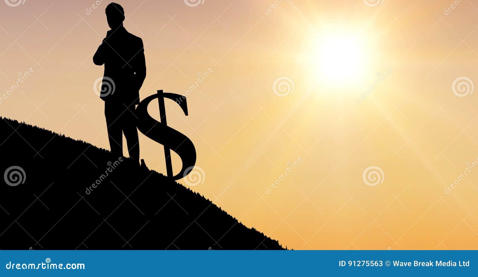 Konturaffärsman med dollartecknet mot himmel under solnedgång